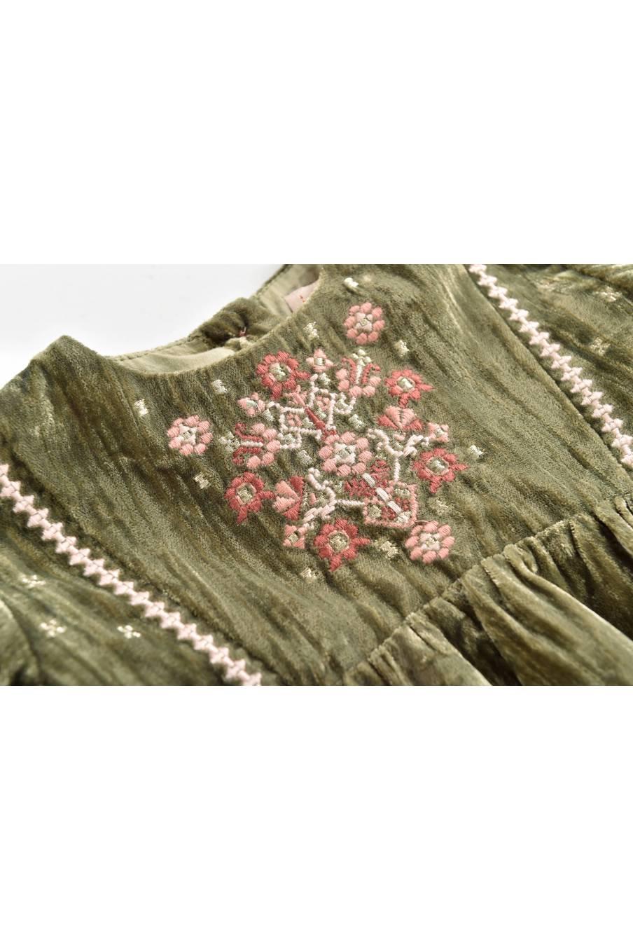 boheme chic vintage robe bébé fille flavia olive velvet