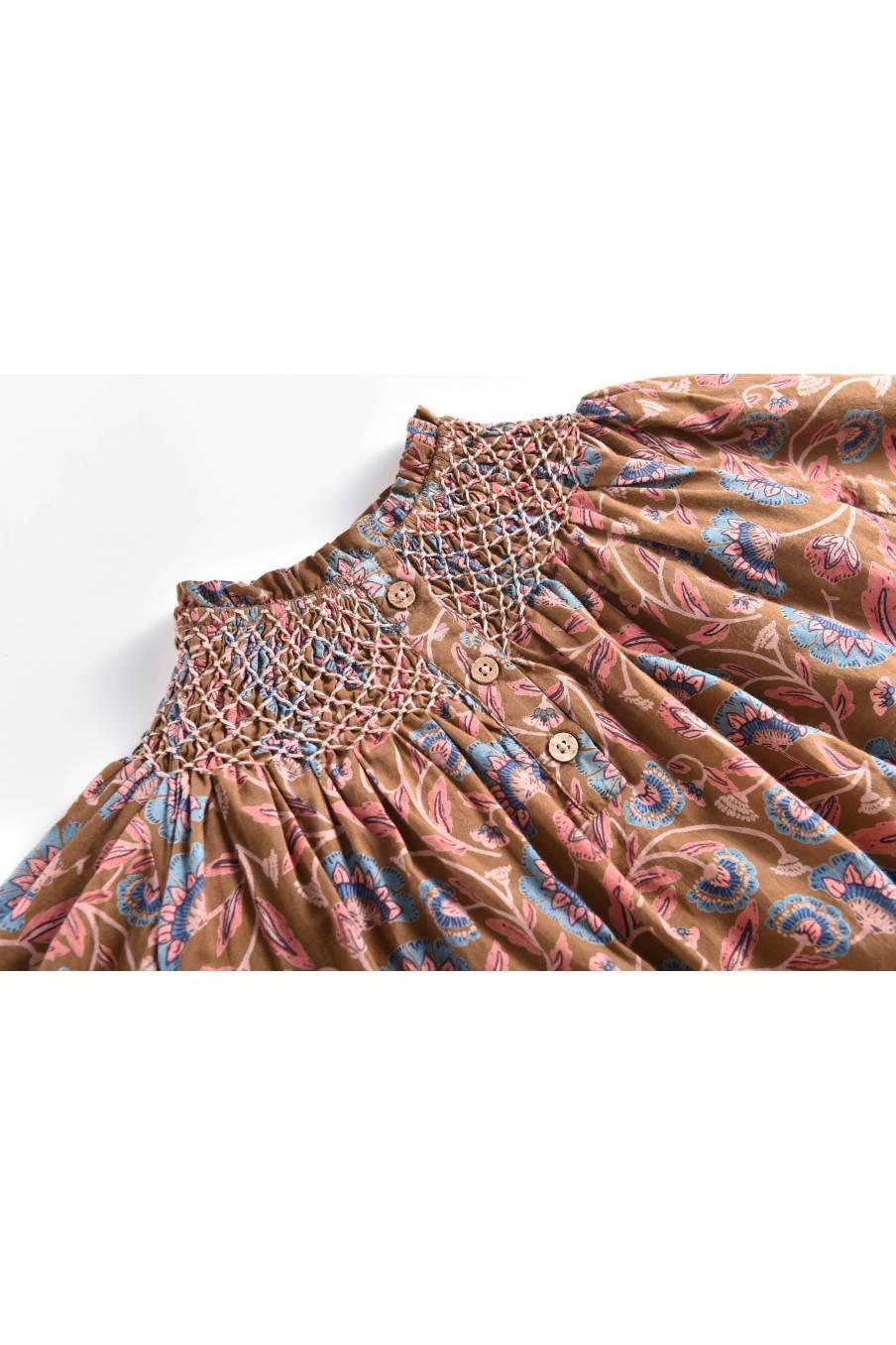 boheme chic vintage robe bébé fille abela bronze folk flowers