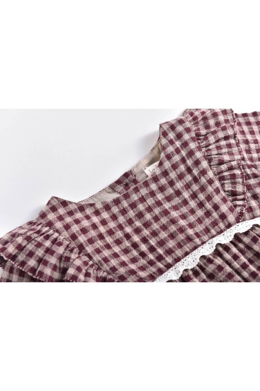 boheme chic vintage robe bébé fille alaka aubergine vichy
