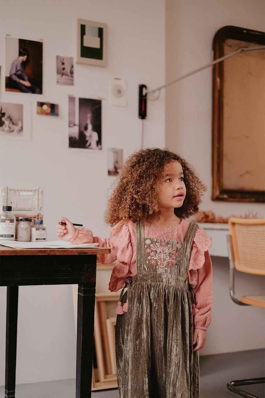 boheme chic vintage robe bébé fille nouchka olive velvet
