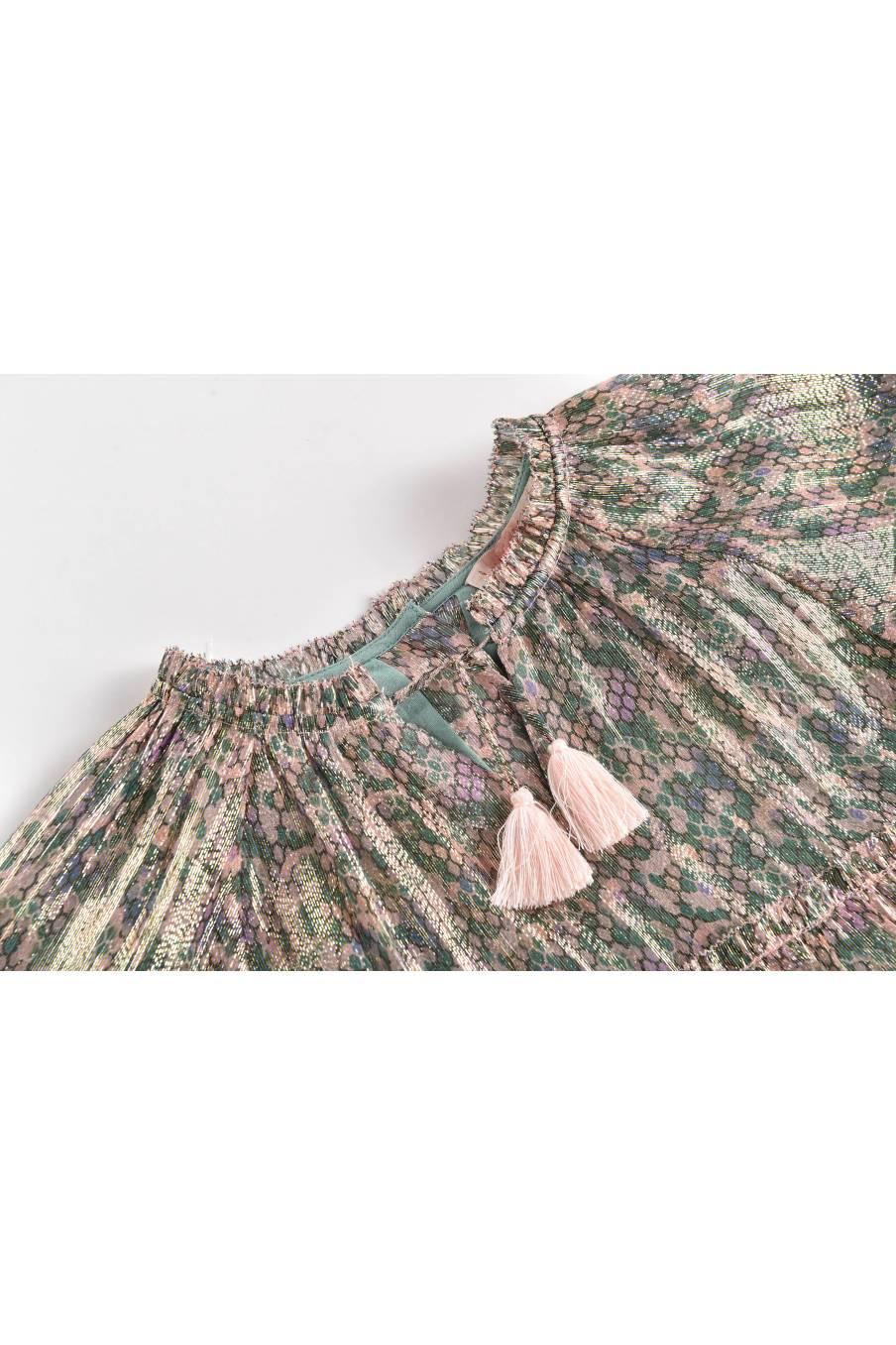 boheme chic vintage robe bébé fille sonia green polka dots