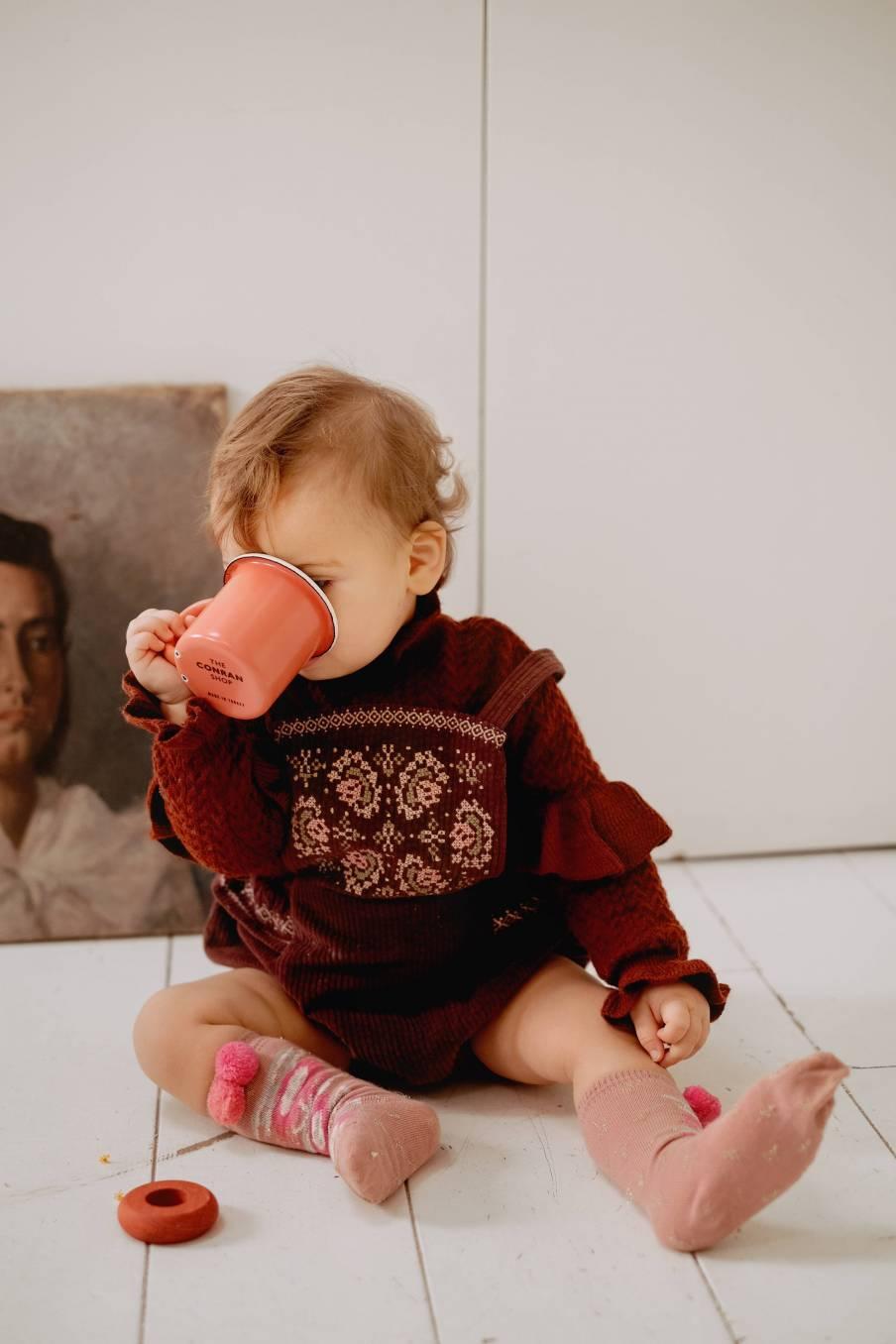 boheme chic vintage pull bébé fille jevo chataigne