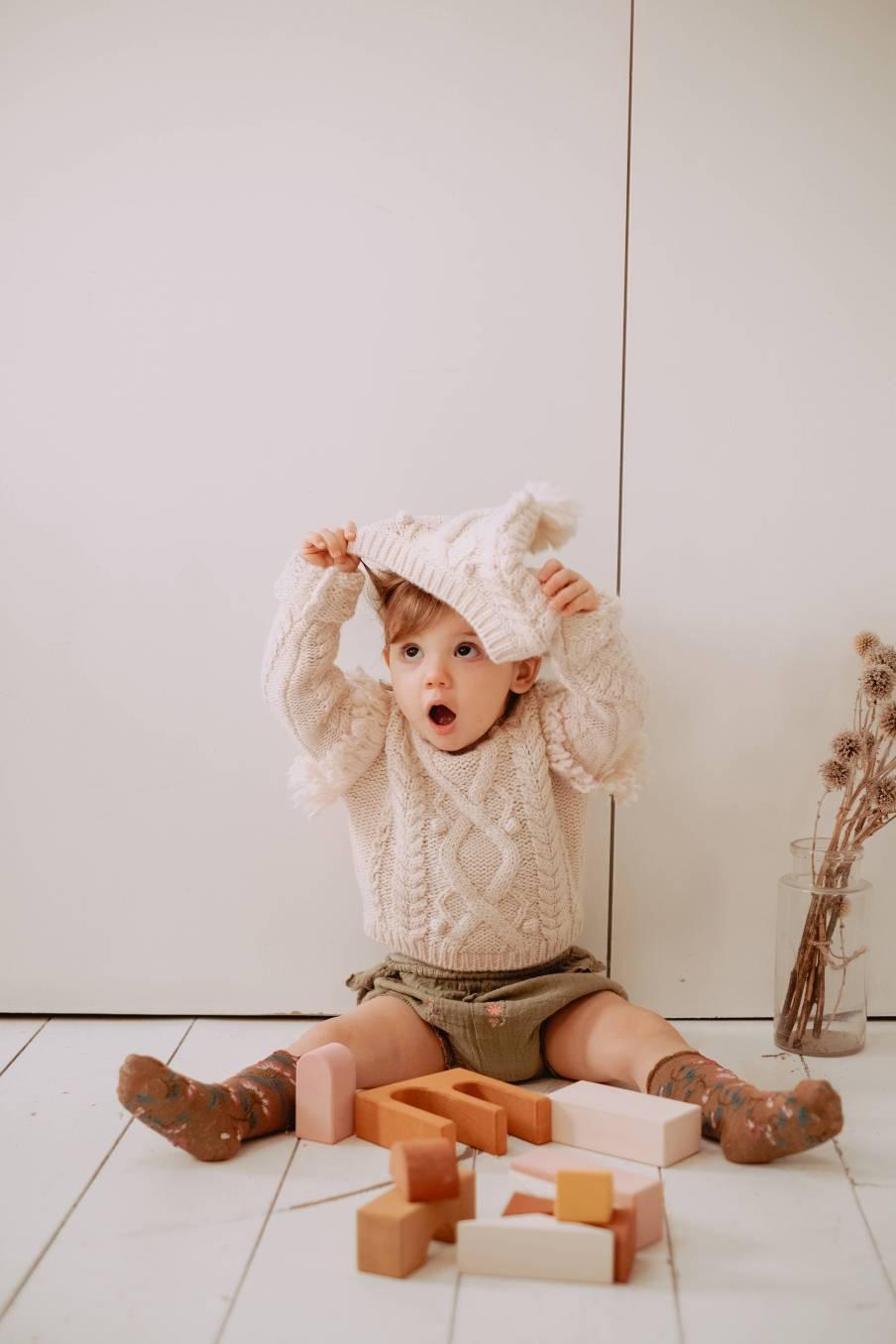 boheme chic vintage pull bébé fille sighina crème