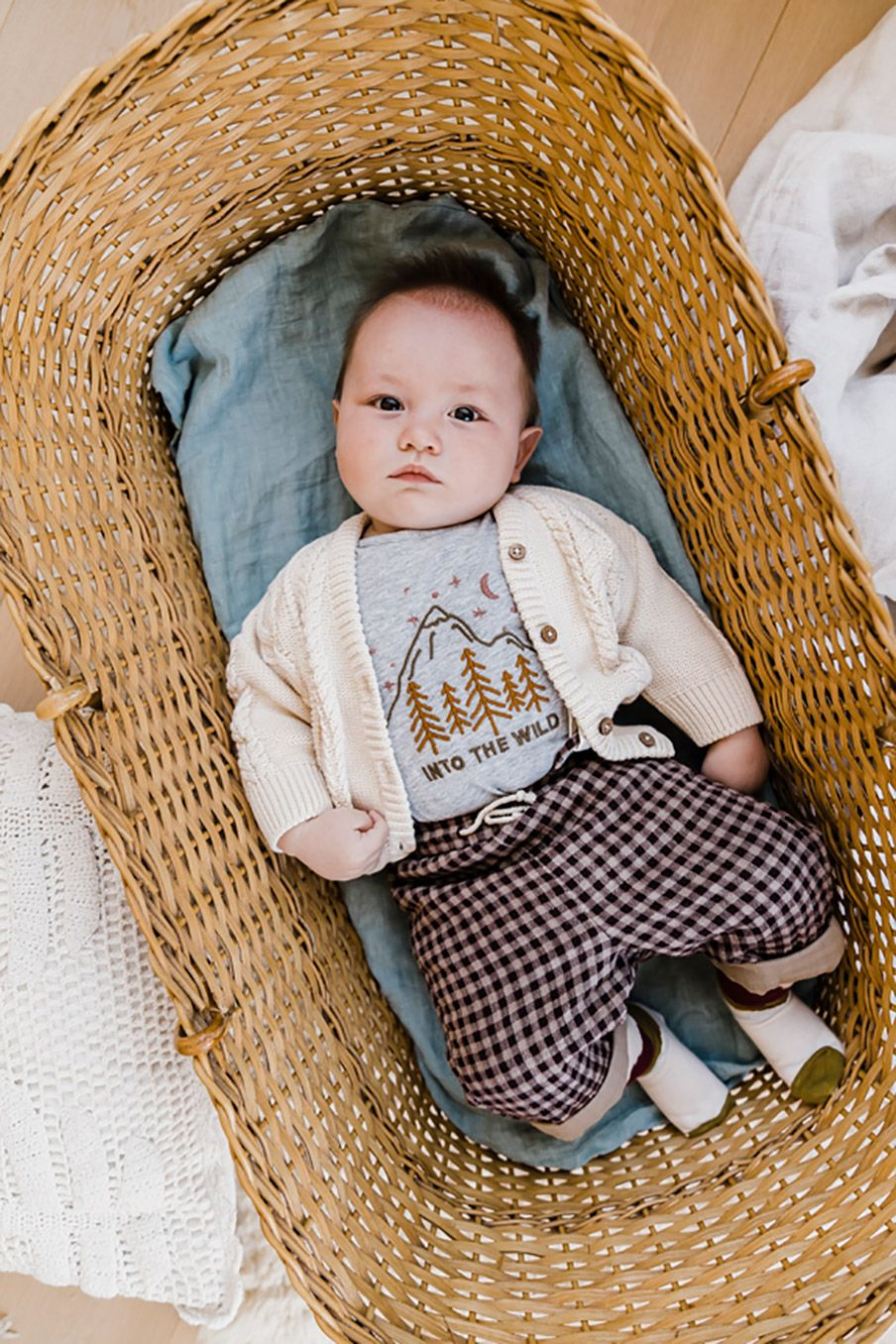 boheme chic vintage pantalon bébé garcon acilu aubergine vichy