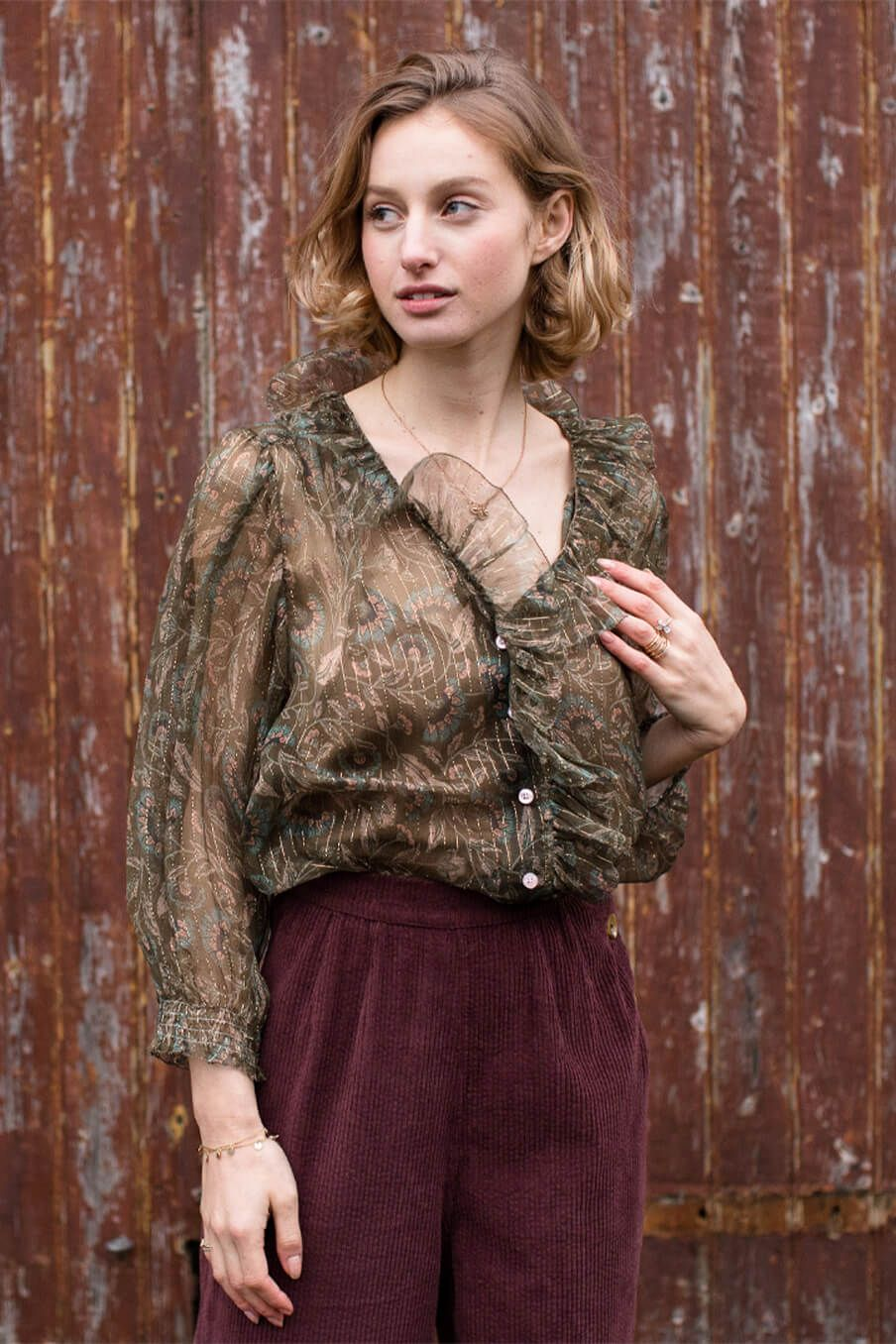 boheme chic vintage blouse femme lorine lurex folk flowers