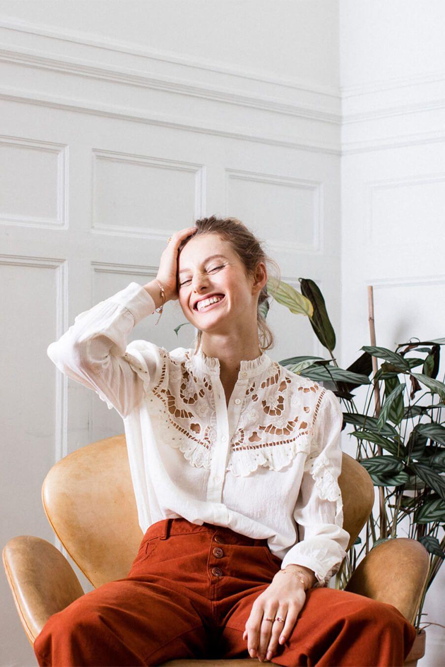 boheme chic vintage blouse femme jenny crème