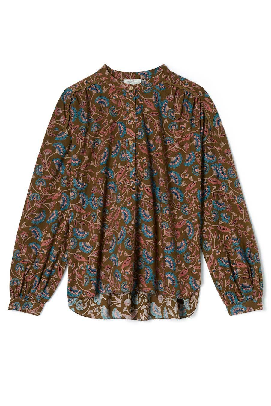 boheme chic vintage blouse femme ajay bronze folk flowers