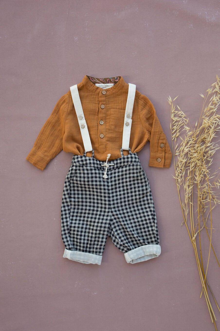 boheme chic vintage pantalon bébé garcon acilu black vichy