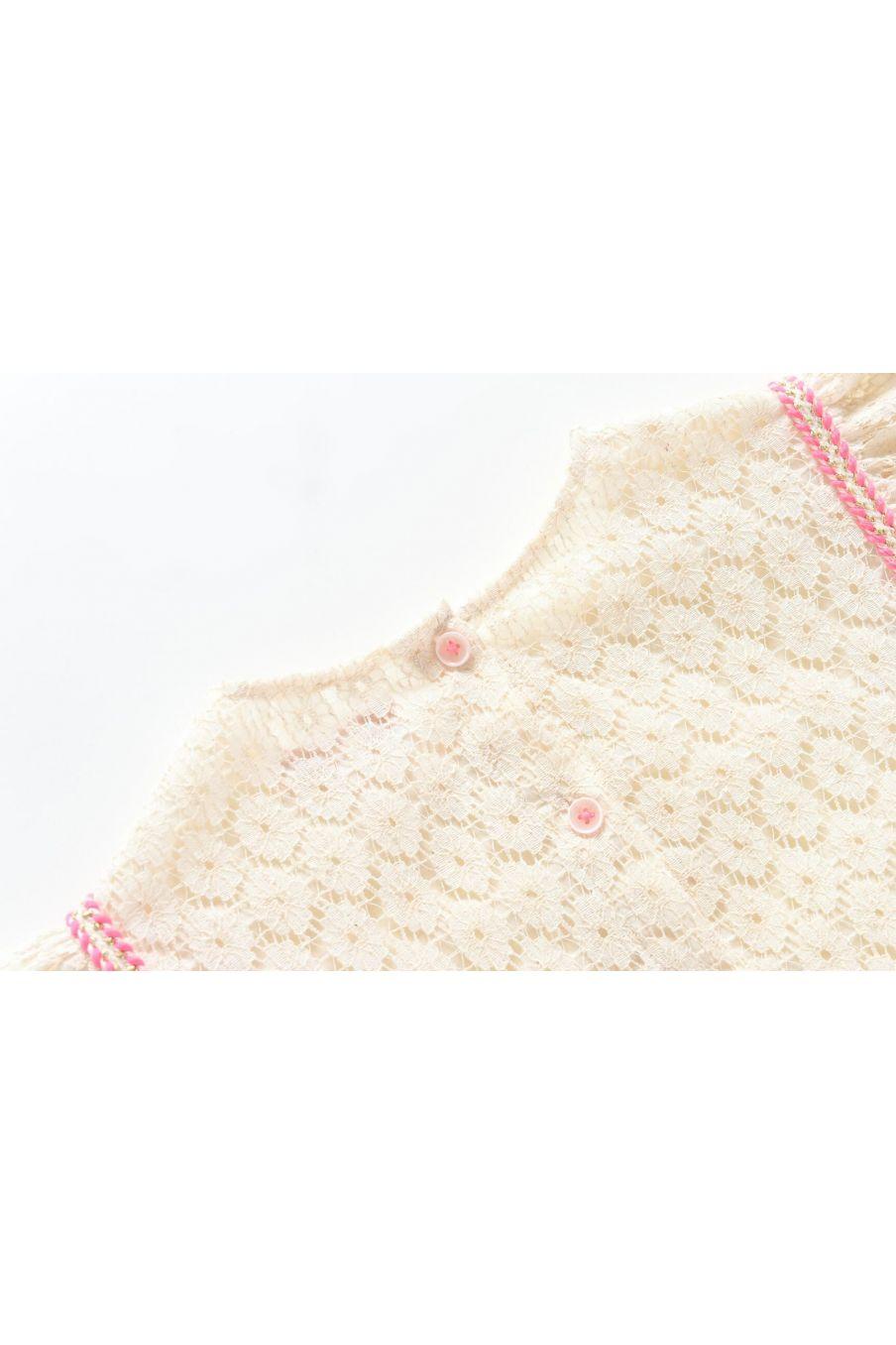 boheme chic vintage top fille paola cream flower lace