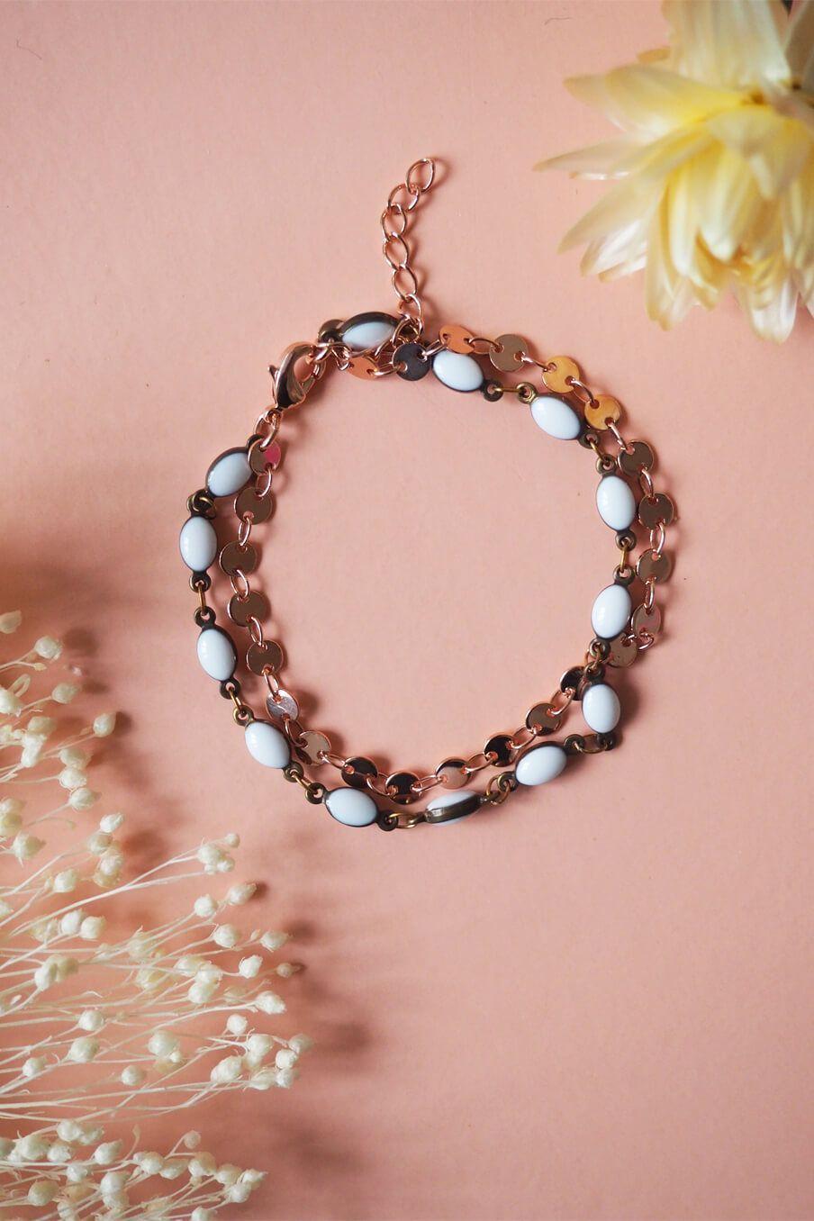 boheme chic vintage bracelet femme baci blanc