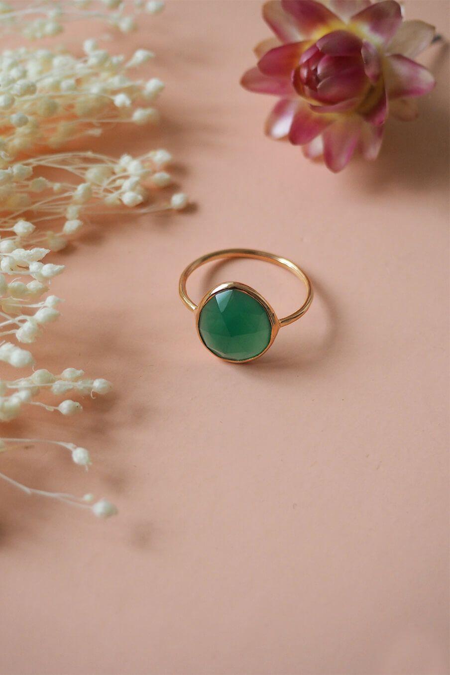 boheme chic vintage bague femme hipi green onyx