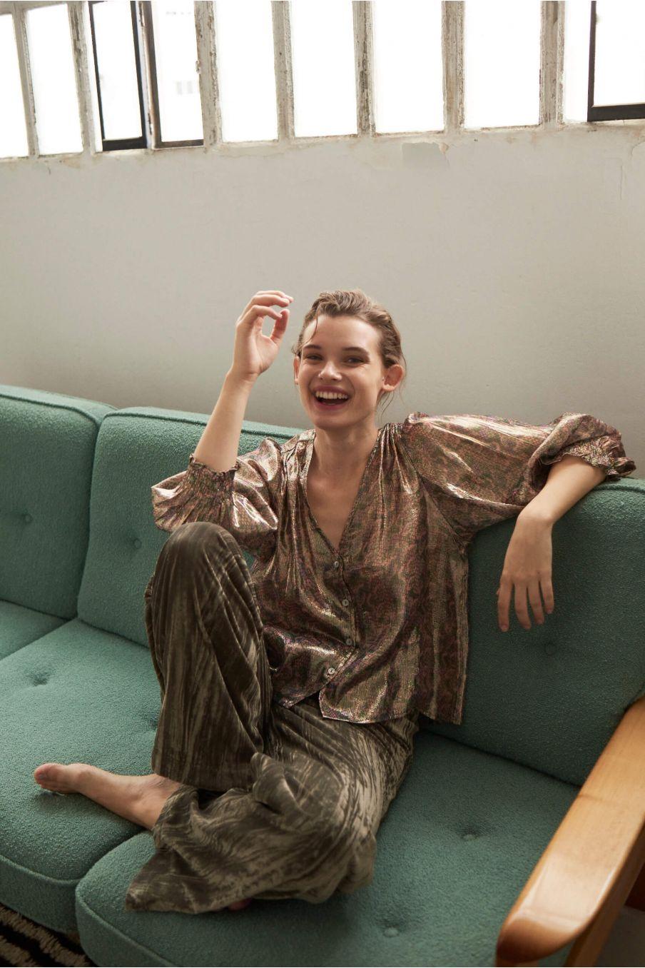 boheme chic vintage blouse femme laurie green polka dots