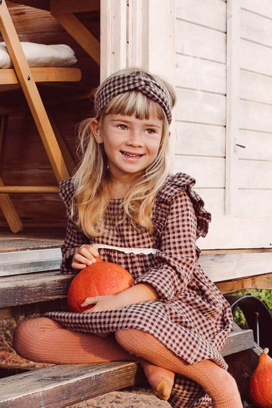boheme chic vintage bandeau bébé fille ally aubergine vichy