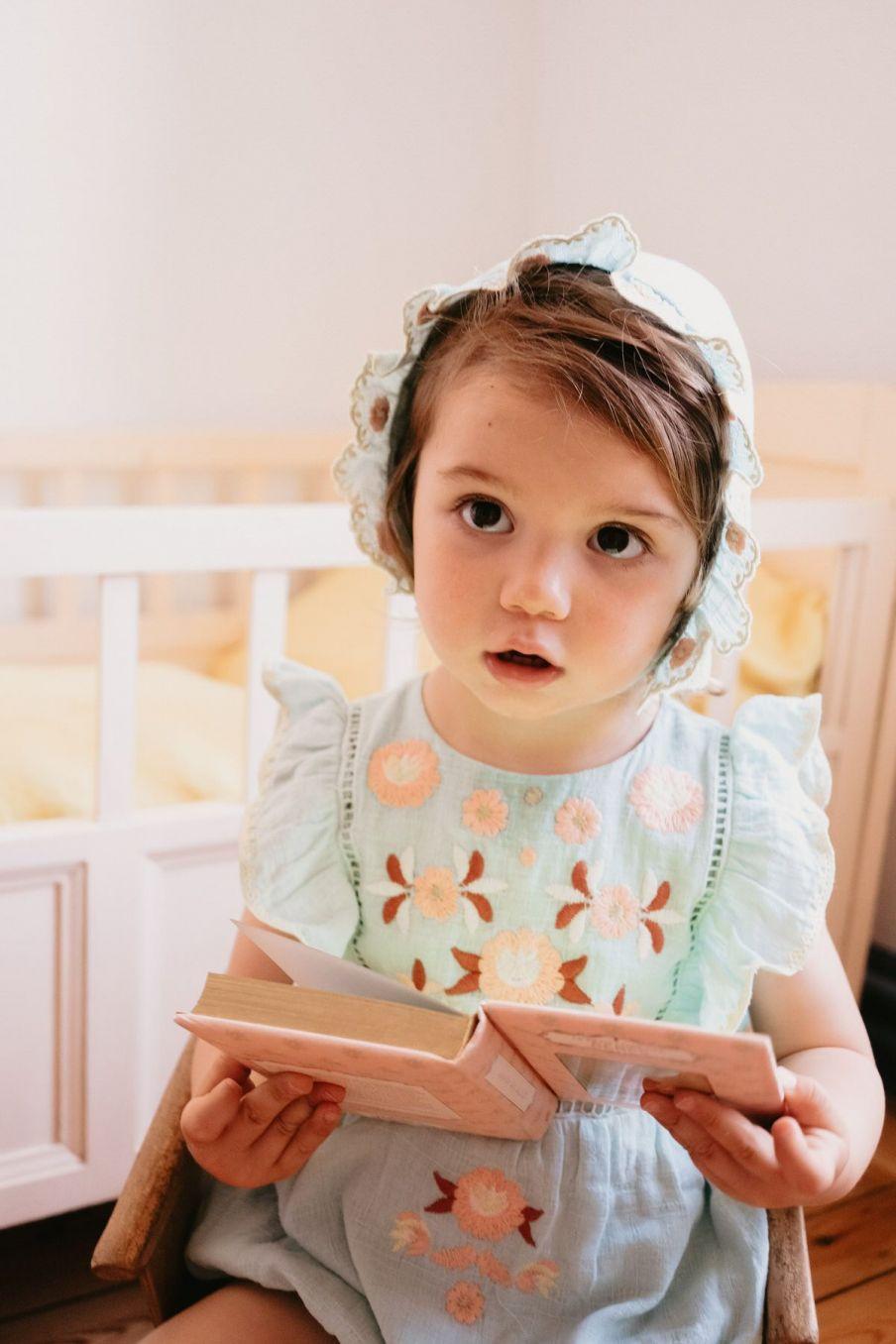 boheme chic vintage barboteuse bébé fille tikana amande