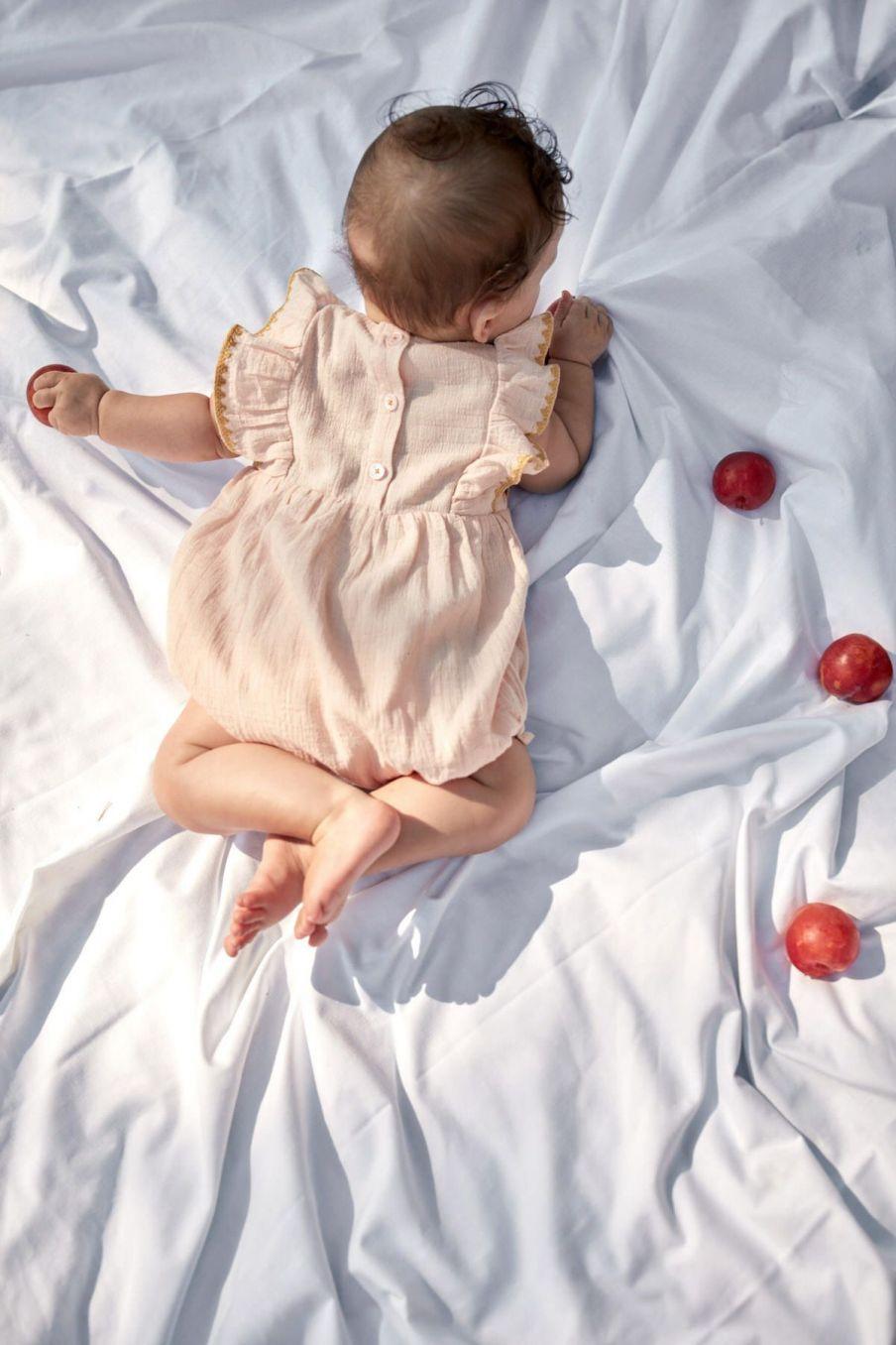 boheme chic vintage barboteuse bébé fille tikana blush