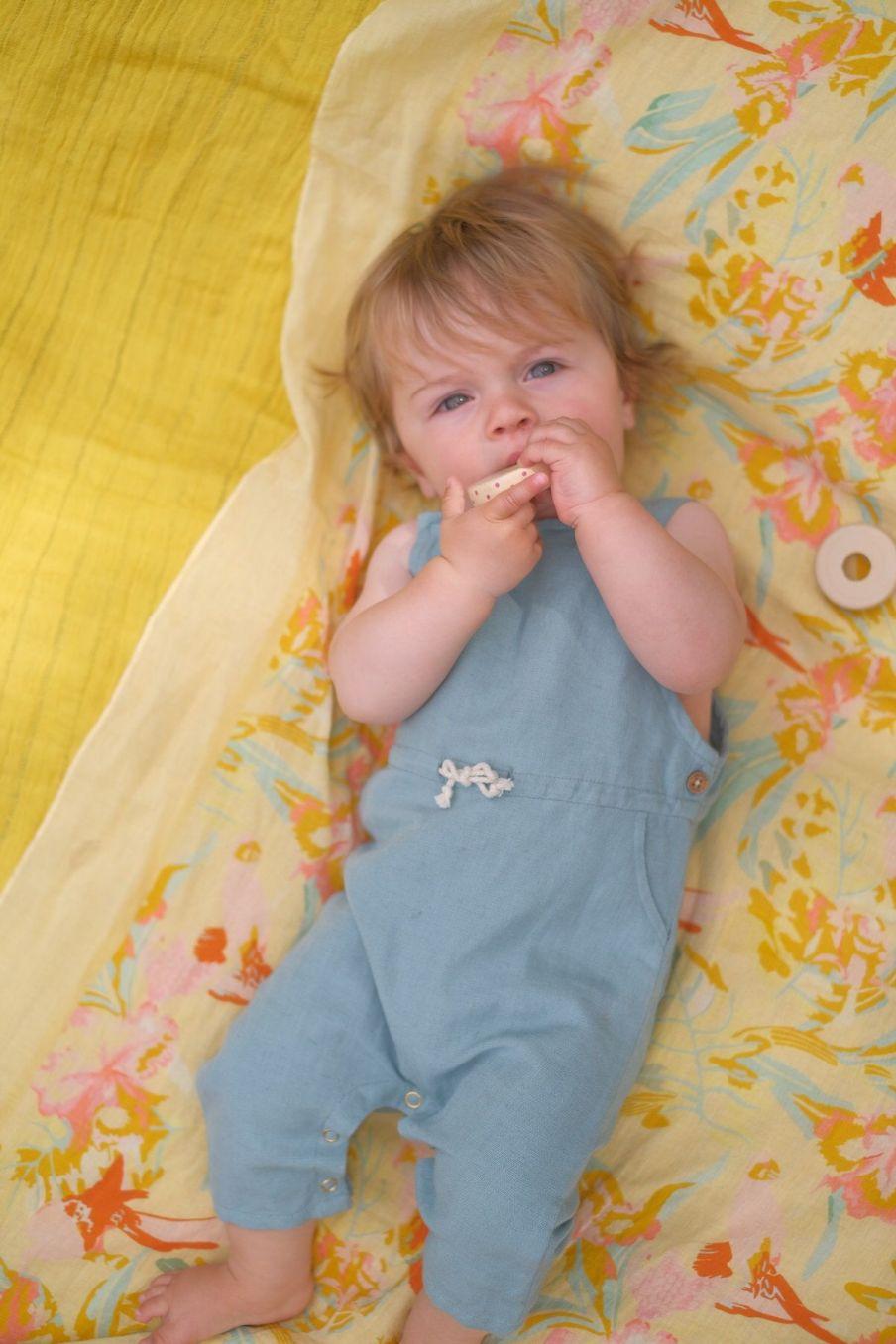 boheme chic vintage salopette bébé garcon amuel vintage blue