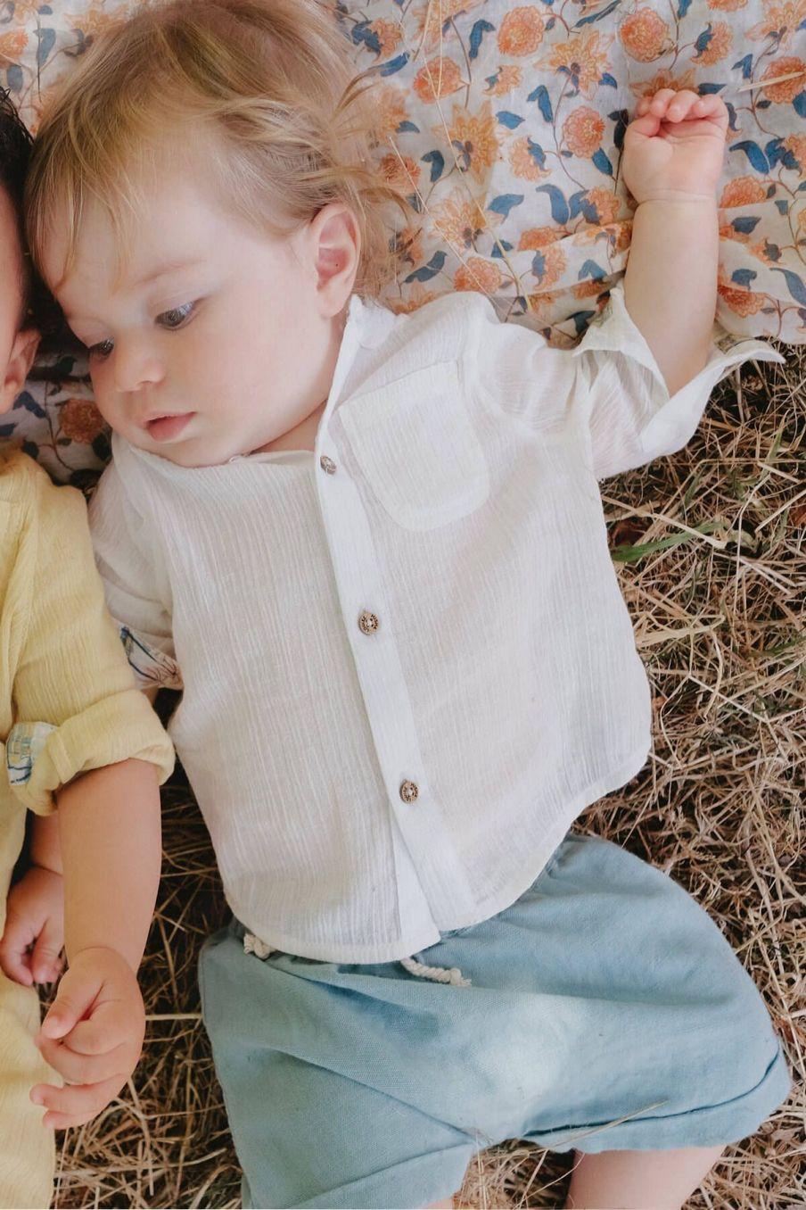 boheme chic vintage chemise bébé garcon amod ecru