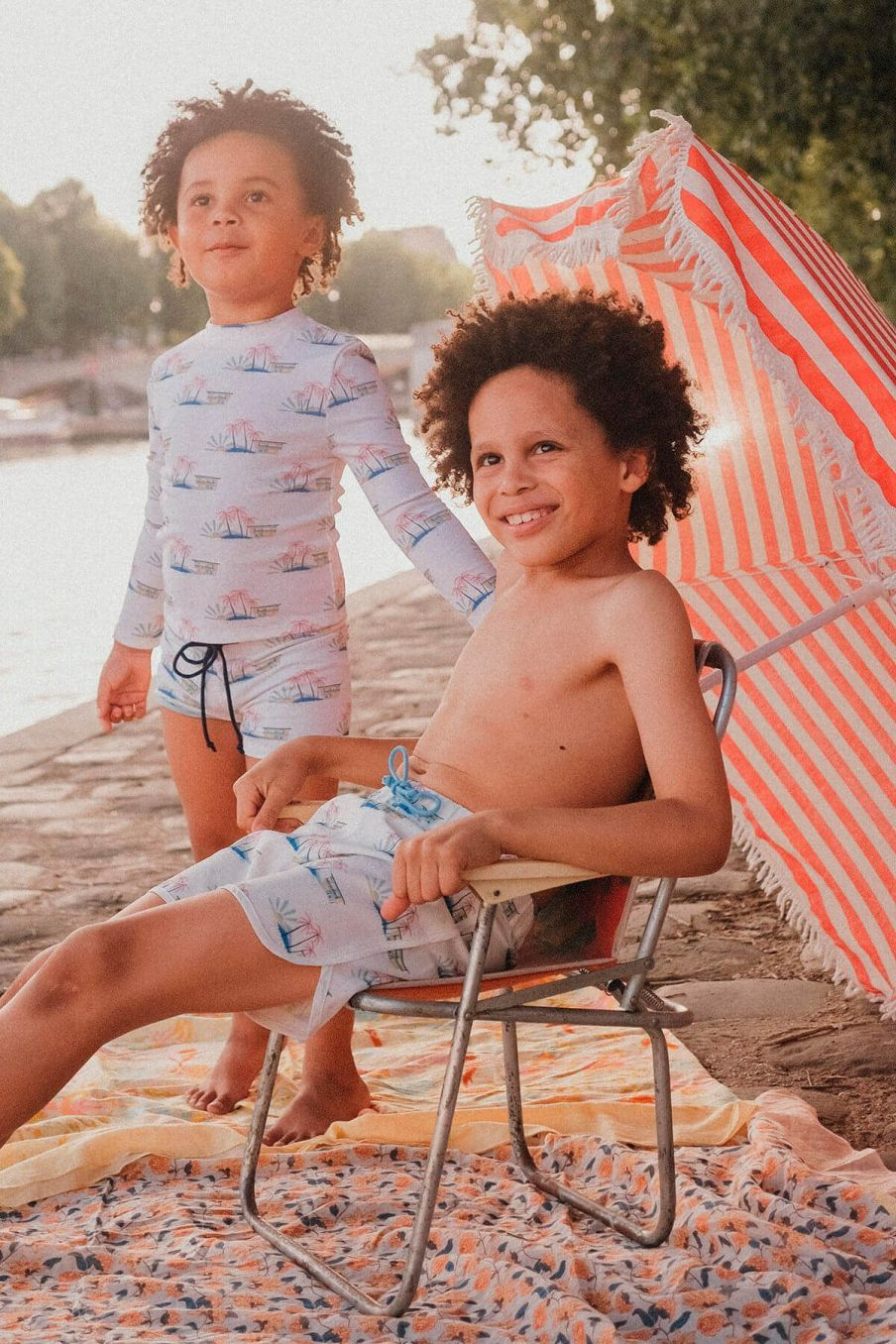 boheme chic vintage short de bain garcon aderi off-white hawaï