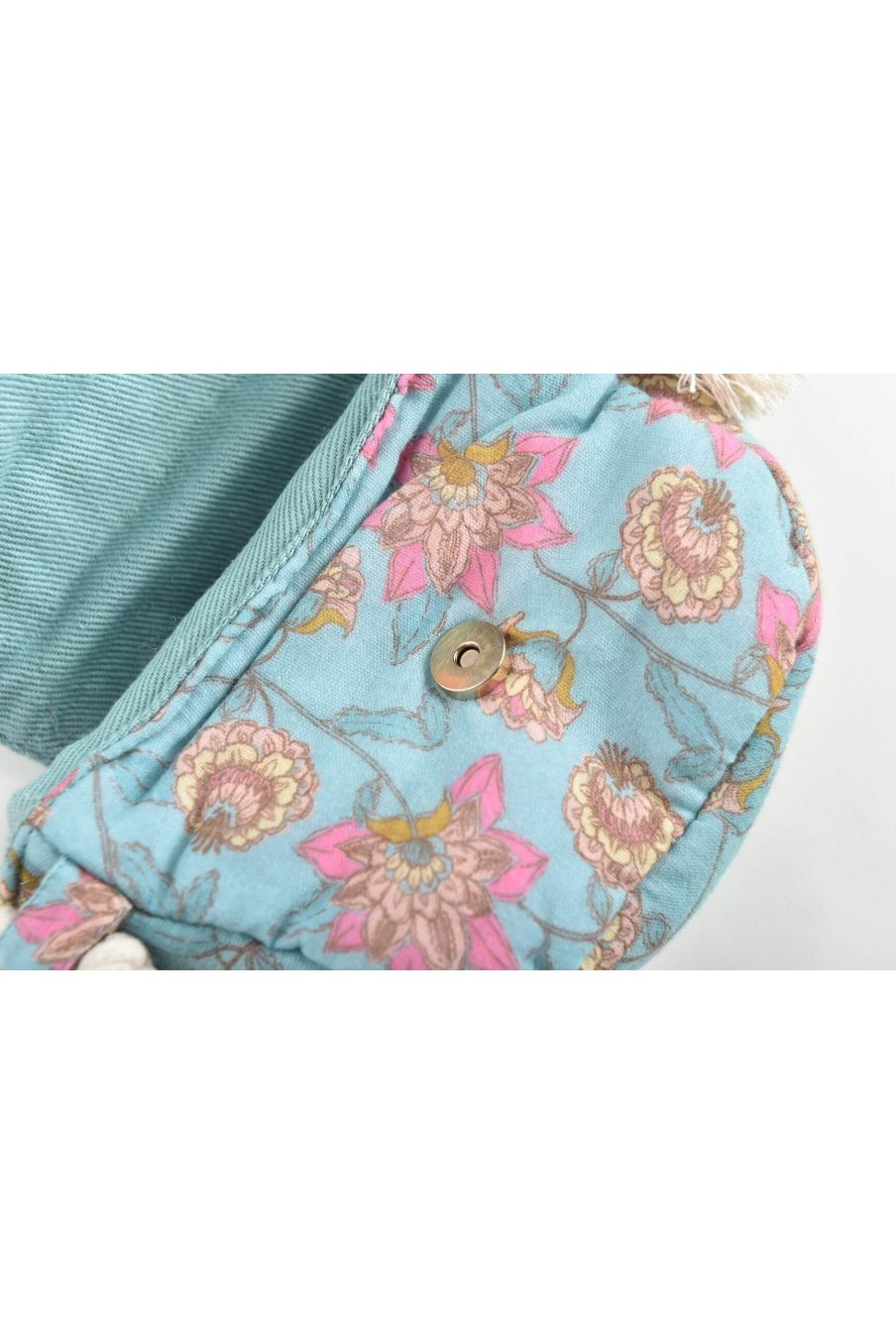 boheme chic vintage sac fille poppy turquoise flowers