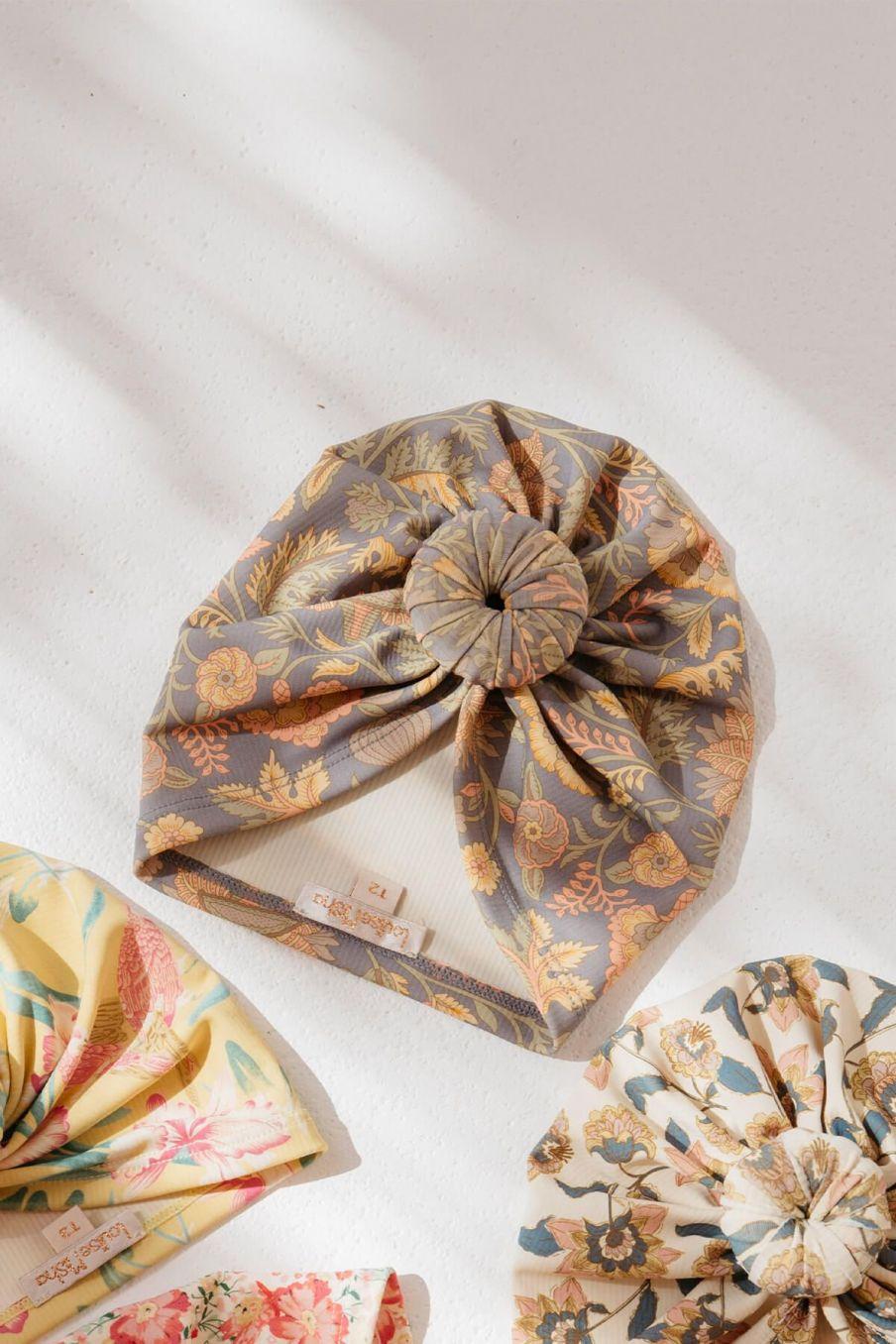 boheme chic vintage bonnet de bain bébé fille sylvania grey california flowers