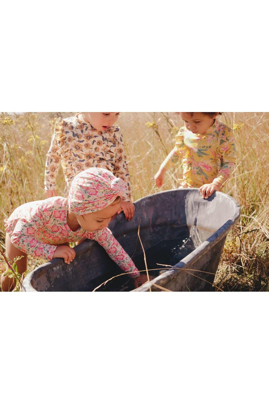 boheme chic vintage bonnet de bain bébé fille sylvania pink meadow