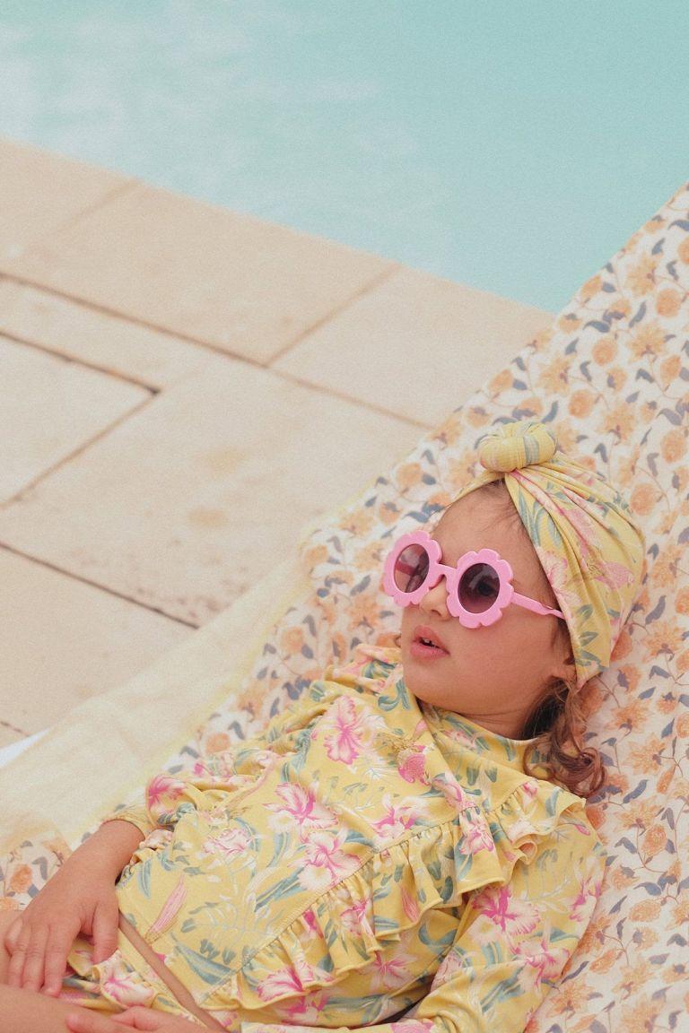 boheme chic vintage bonnet de bain bébé fille sylvania soft honey parrots