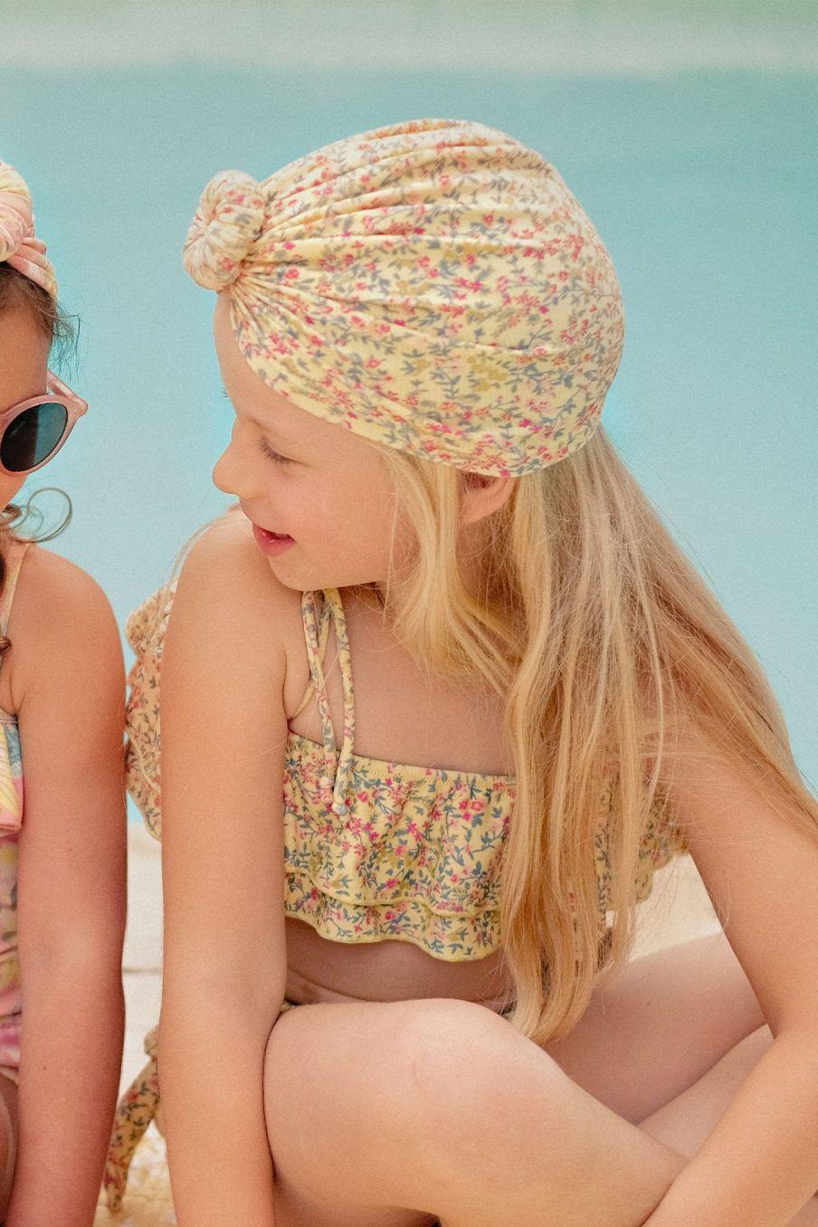 boheme chic vintage bonnet de bain bébé fille sylvania soft yellow spring flowers