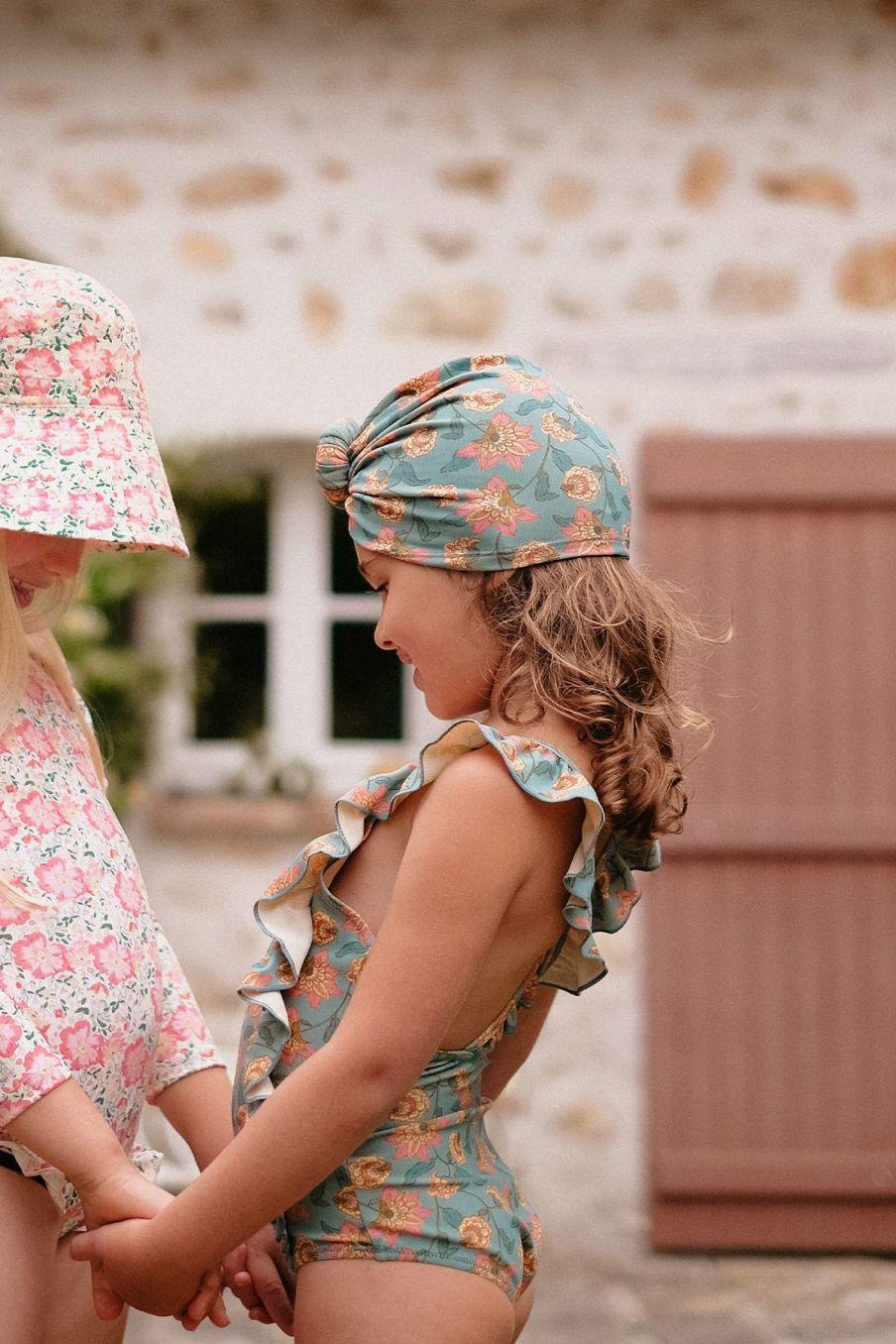 boheme chic vintage bonnet de bain bébé fille sylvania turquoise flowers