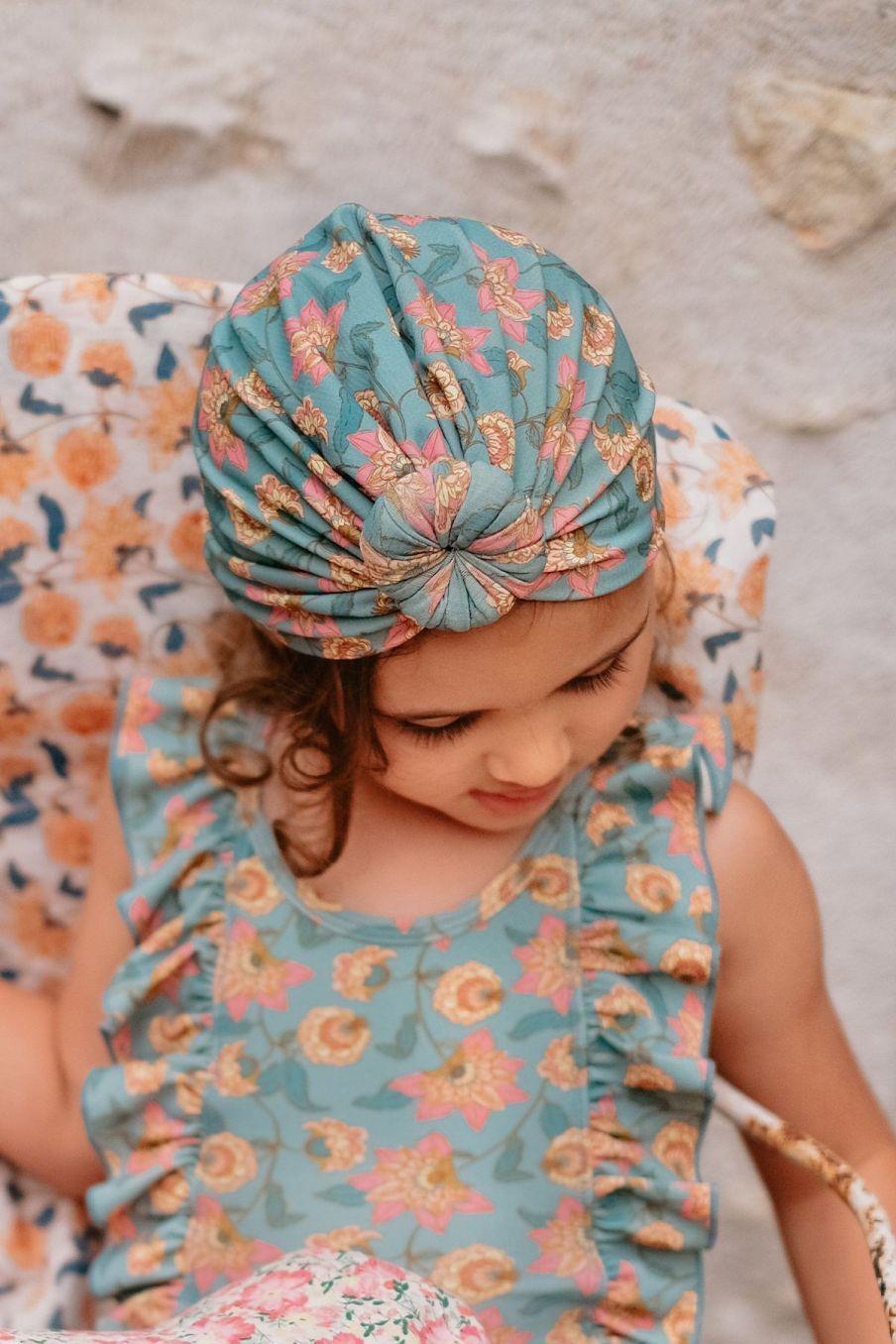 boheme chic vintage bonnet de bain fille sylvania turquoise flowers
