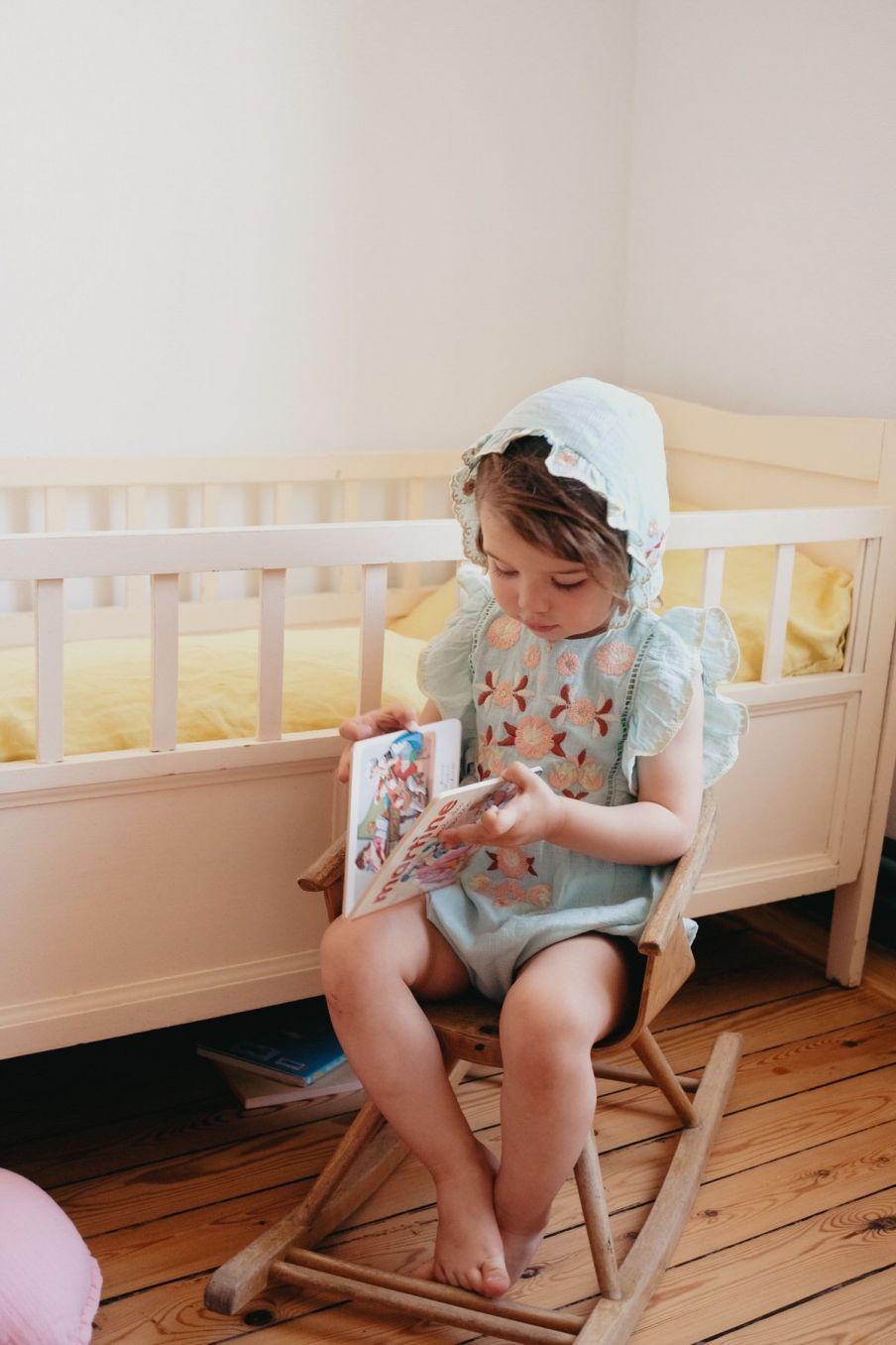 boheme chic vintage bonnet bébé fille tishaya amande