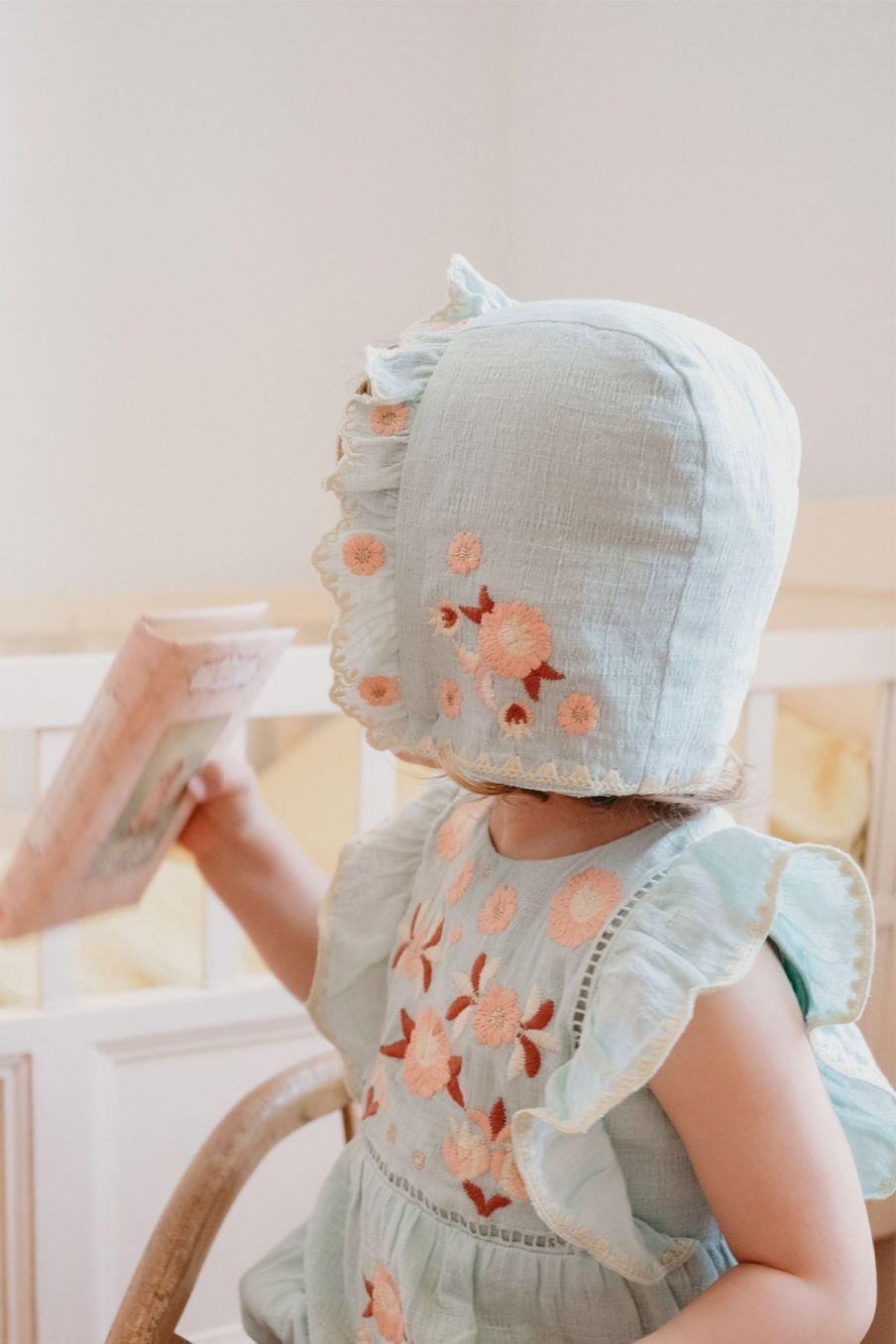 boheme chic vintage bonnet fille tishaya amande