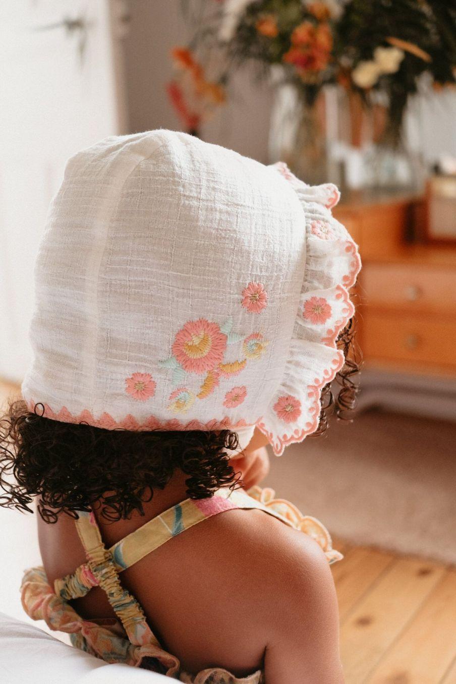 boheme chic vintage bonnet fille tishaya ecru