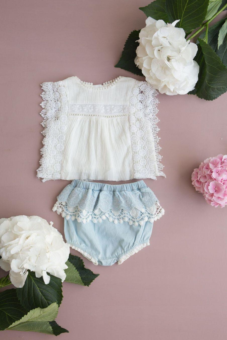 boheme chic vintage blouse bébé fille adolio ecru