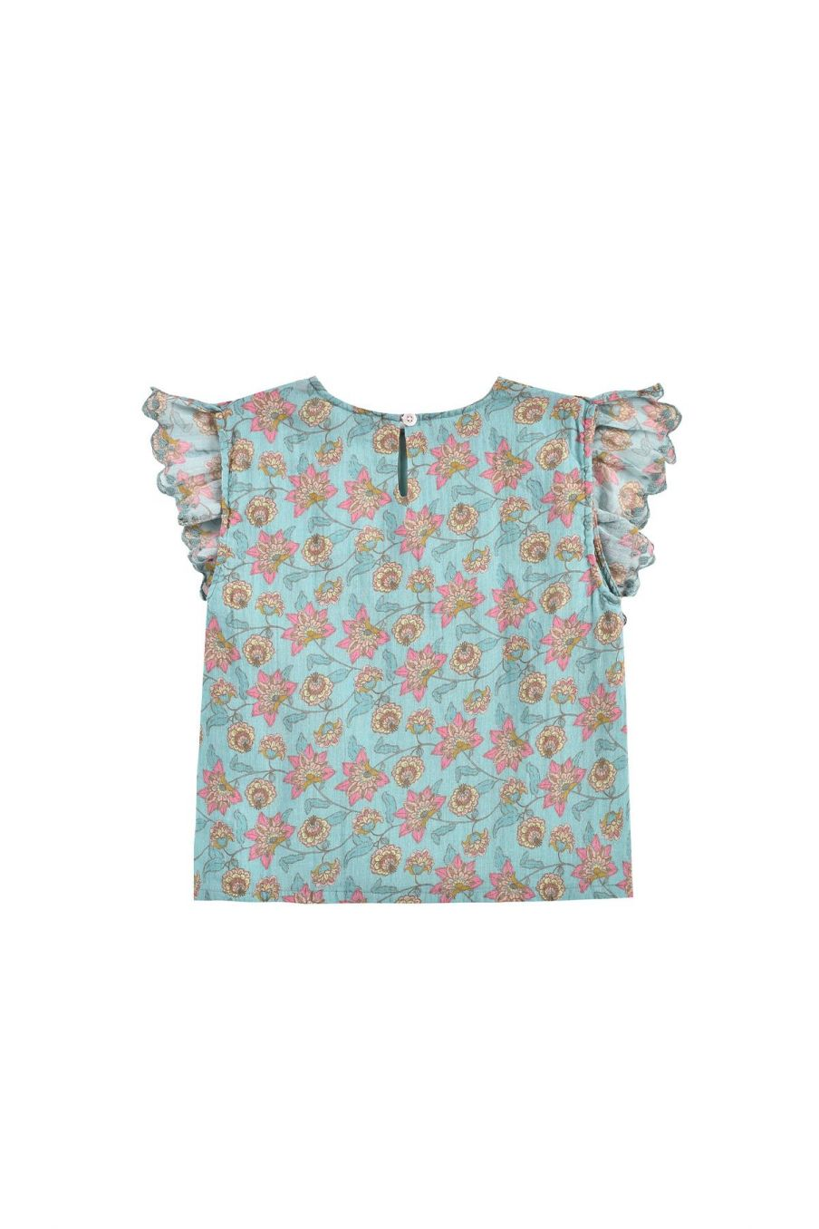 boheme chic vintage blouse fille hija turquoise flowers