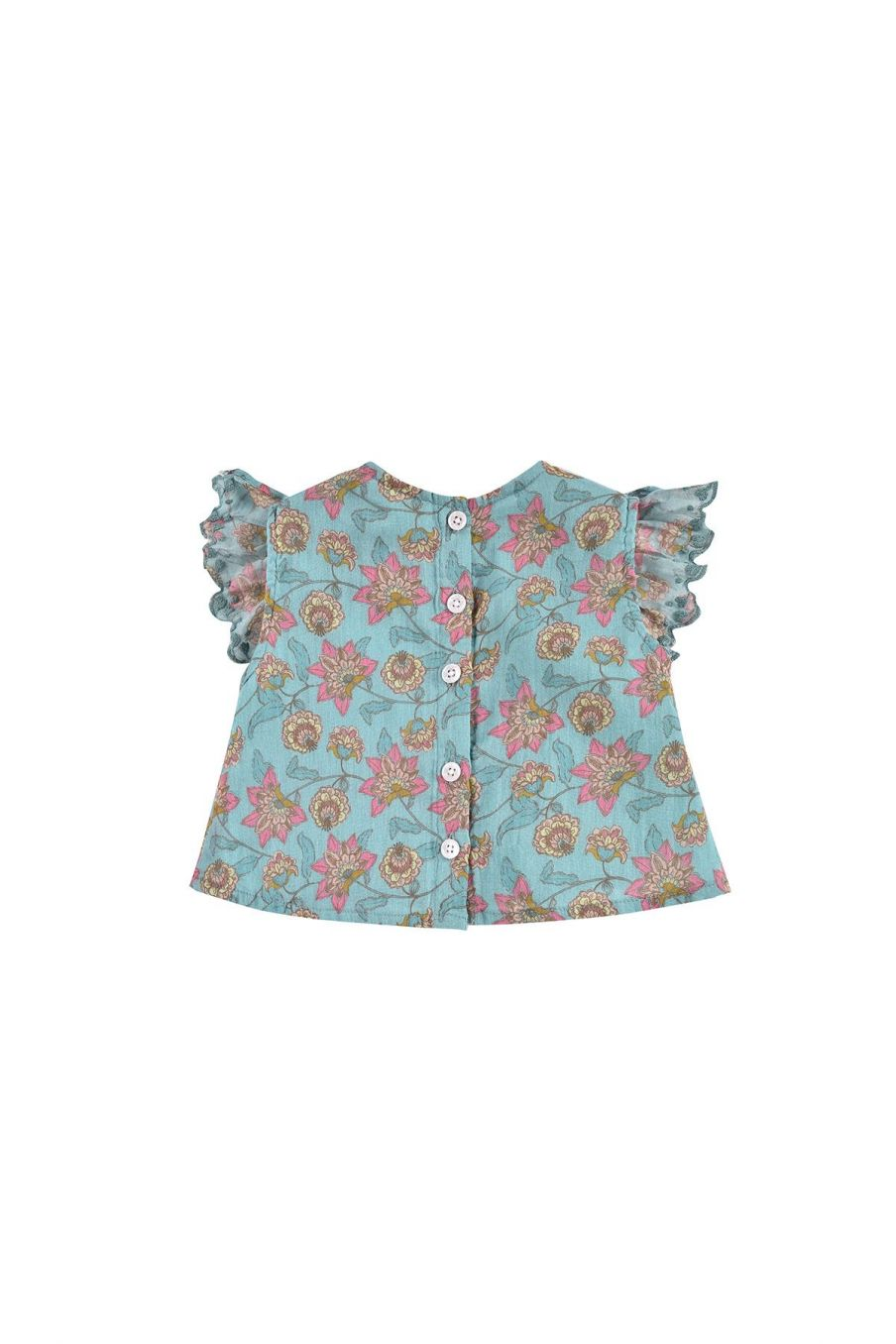 boheme chic vintage blouse bébé fille hija turquoise flowers