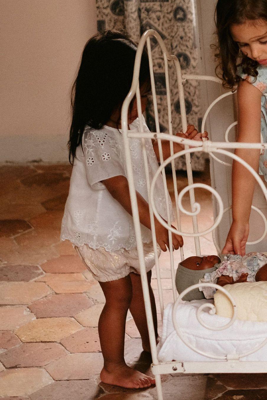 boheme chic vintage blouse fille sandrine ecru