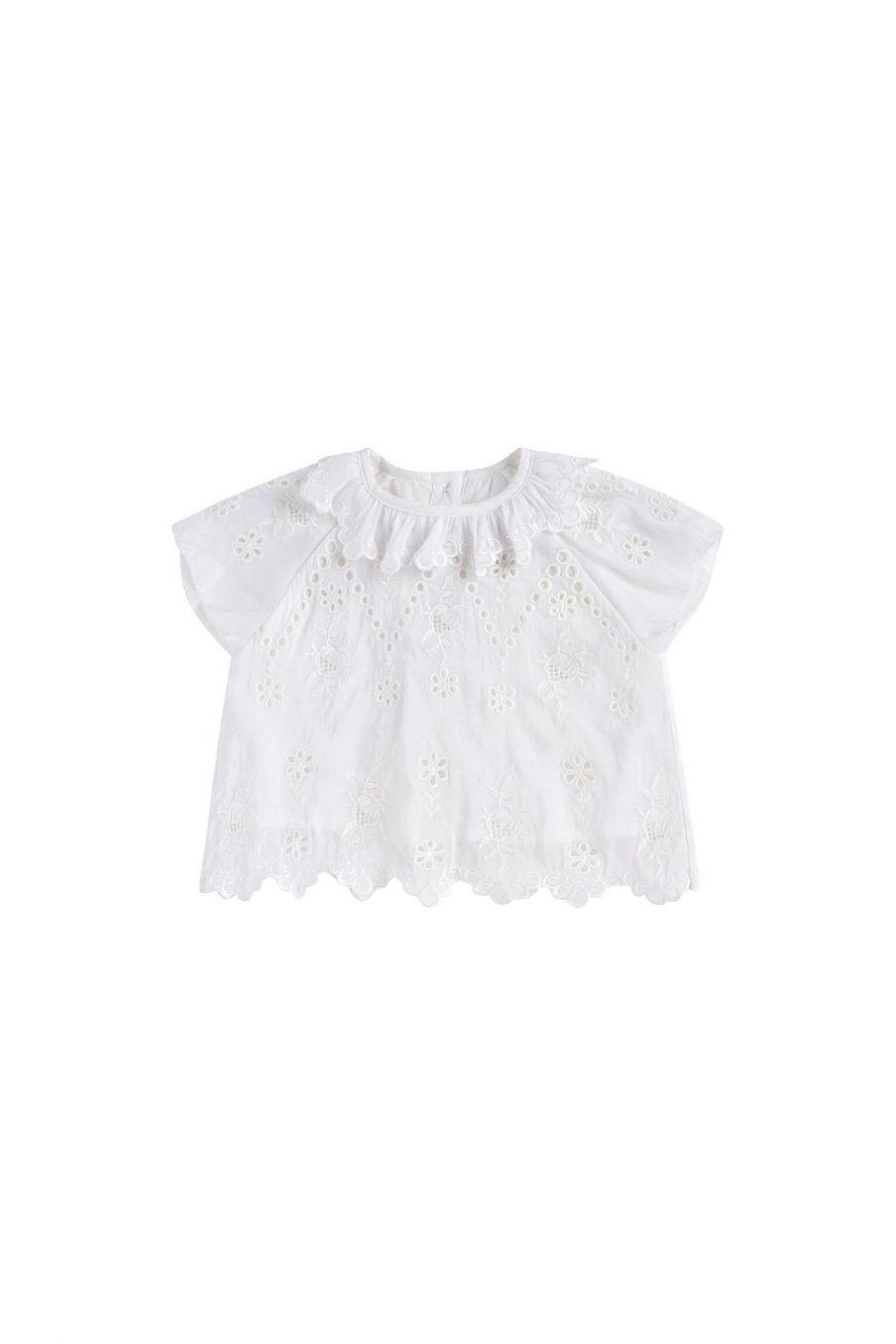 boheme chic vintage blouse bébé fille sandrine ecru