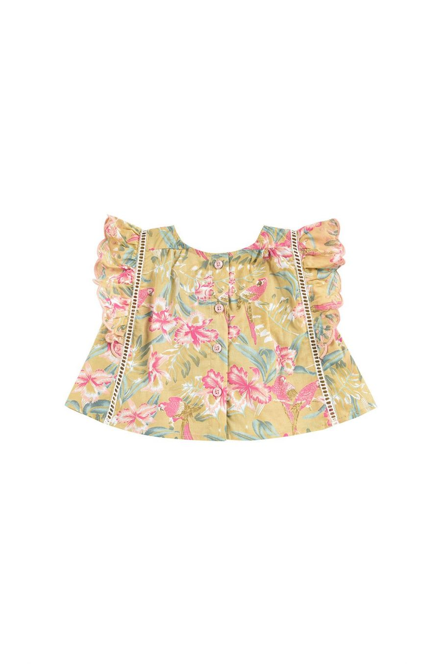boheme chic vintage blouse bébé fille serena soft honey parrots