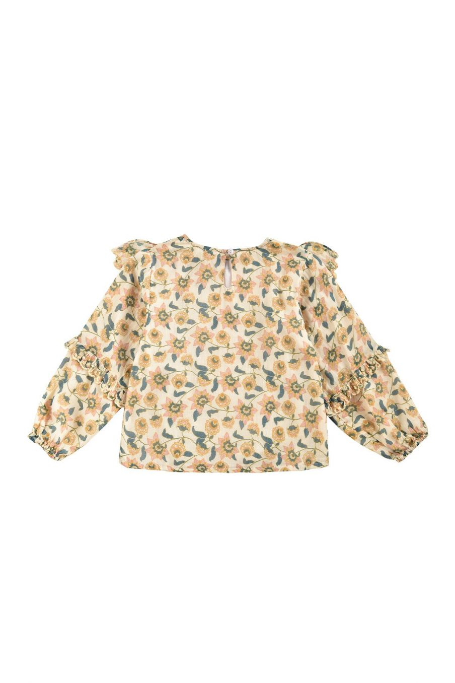 boheme chic vintage blouse fille tubi cream flowers