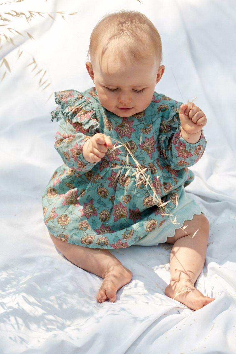 boheme chic vintage robe bébé fille bisiali turquoise flowers