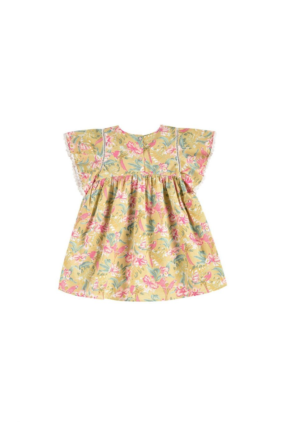 boheme chic vintage robe fille christina soft honey parrots