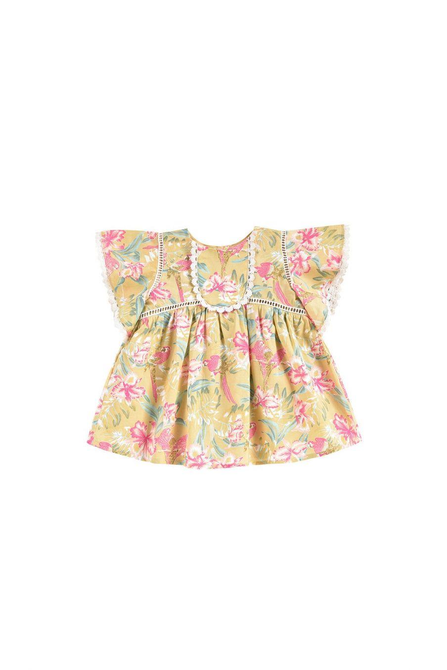 boheme chic vintage robe bébé fille christina soft honey parrots