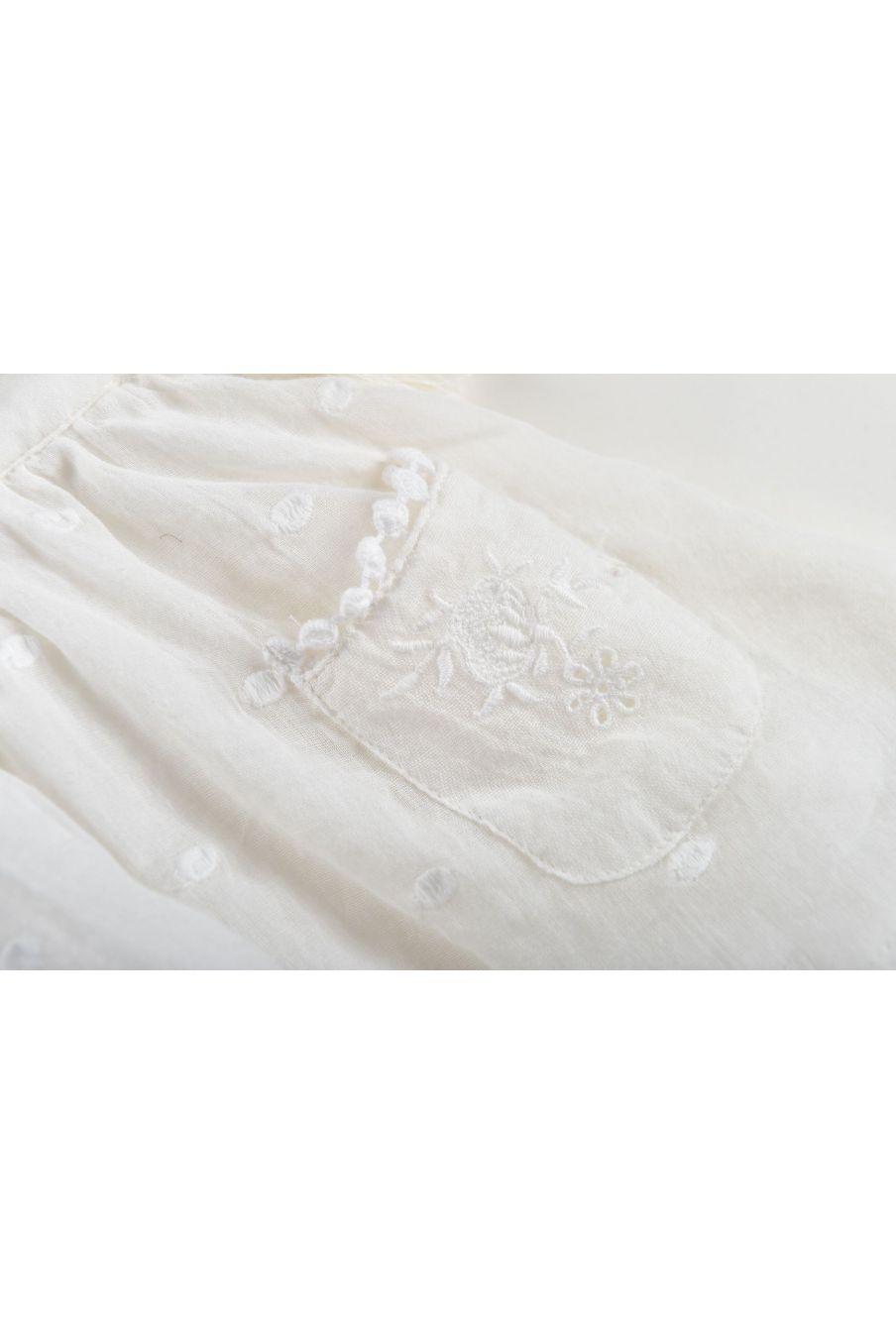 boheme chic vintage robe fille huguette off-white plumetis
