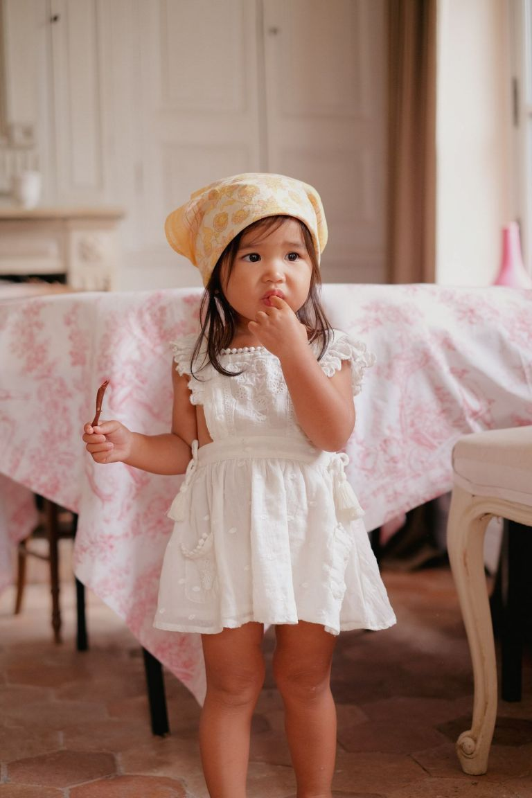 boheme chic vintage robe bébé fille huguette off-white plumetis