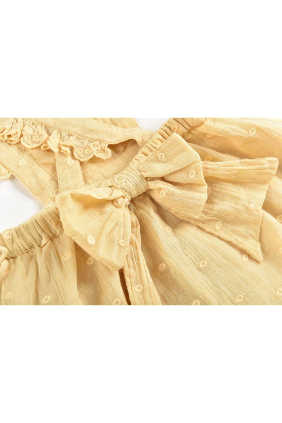 boheme chic vintage robe fille huguette soft honey plumetis