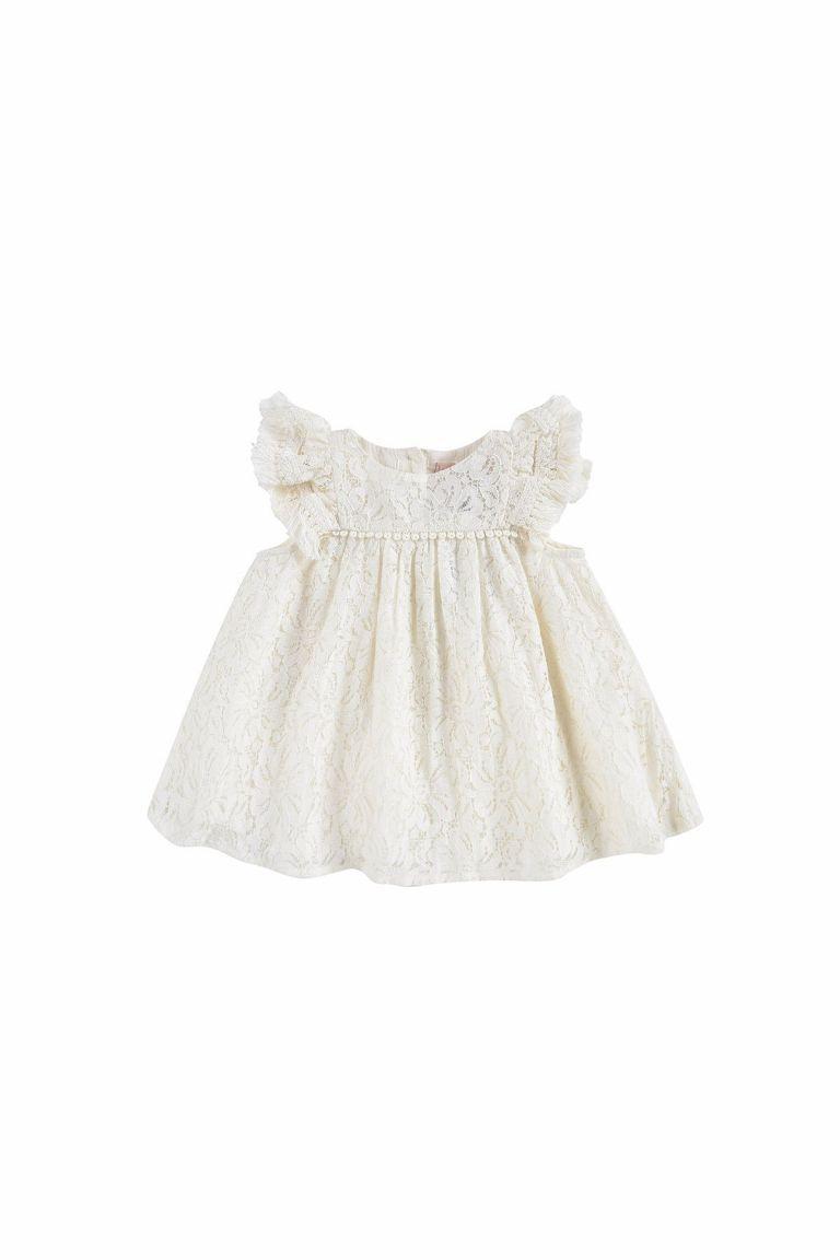 boheme chic vintage robe bébé fille janice cream lace