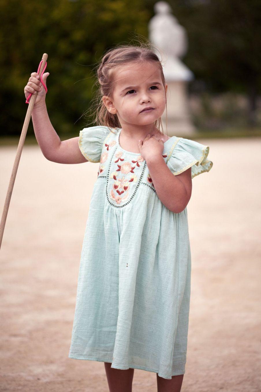 boheme chic vintage robe fille jendahiu amande