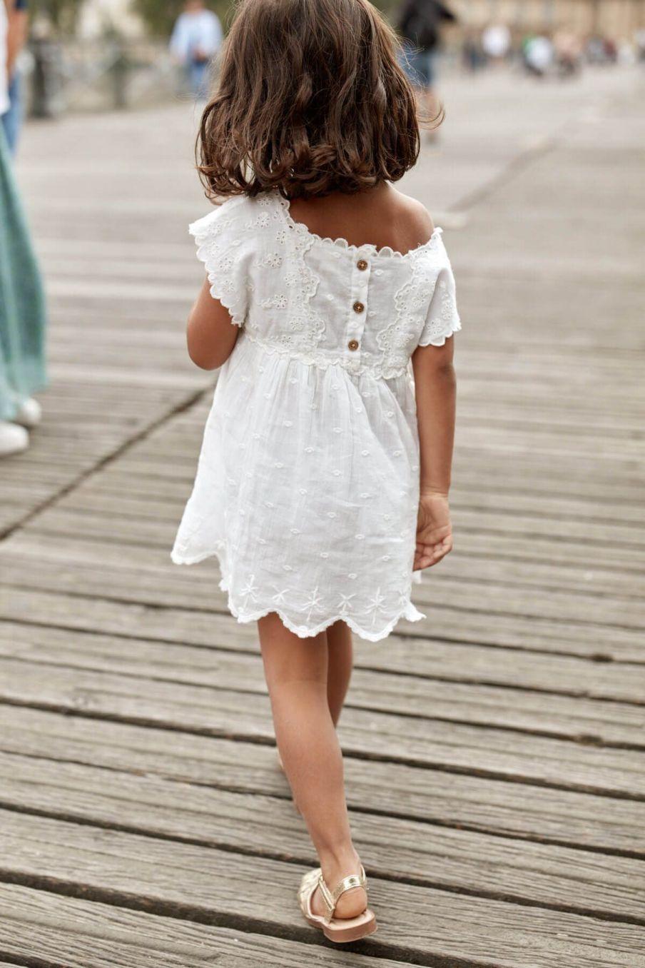 boheme chic vintage robe fille leilani off-white plumetis
