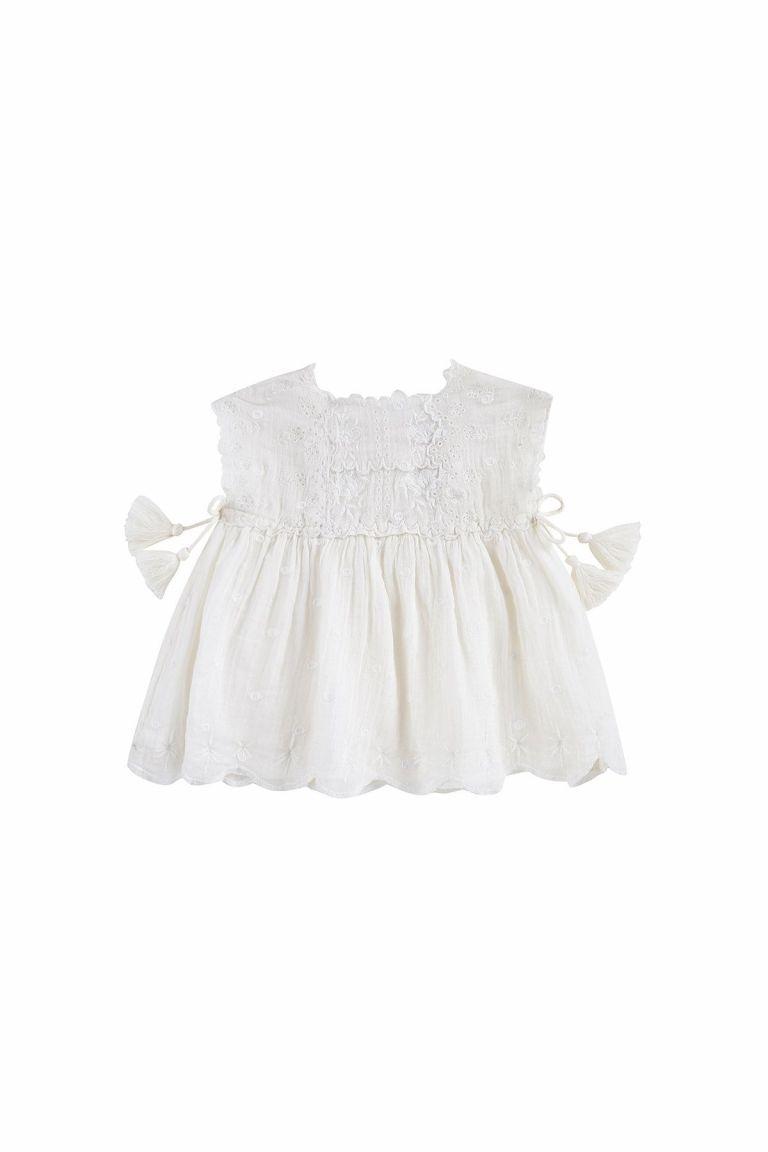 boheme chic vintage robe bébé fille leilani off-white plumetis