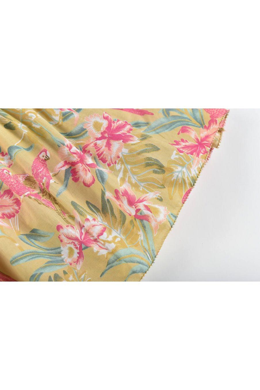 boheme chic vintage robe fille marceline soft honey parrots